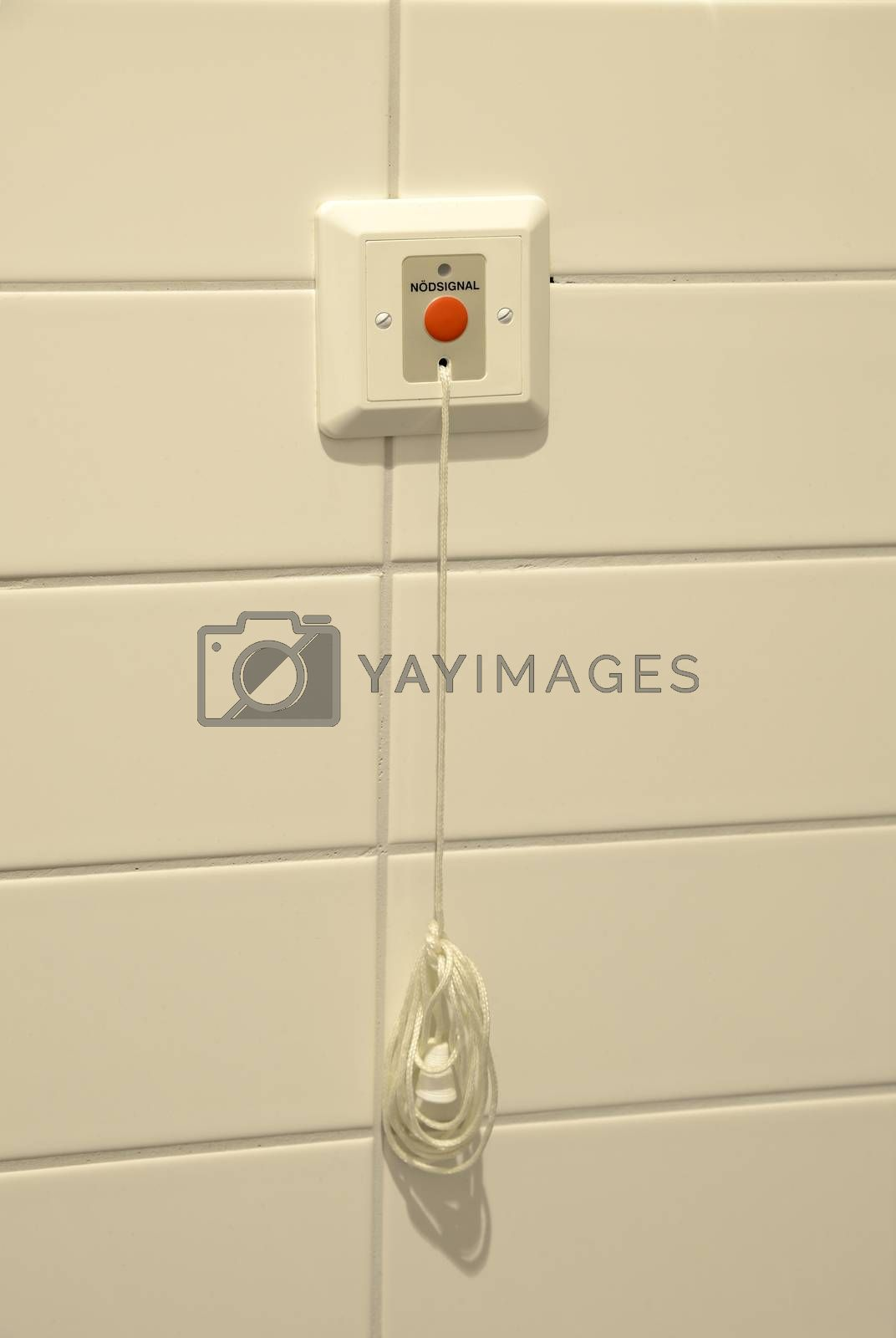 Toilet emergency button with emergency pull cord isolated on white wall