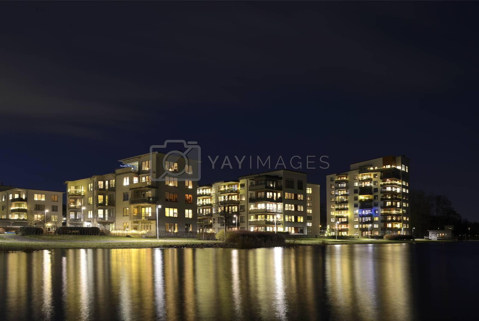 Modern apartment buildings, Liljeholmen in Stockholm - Sweden