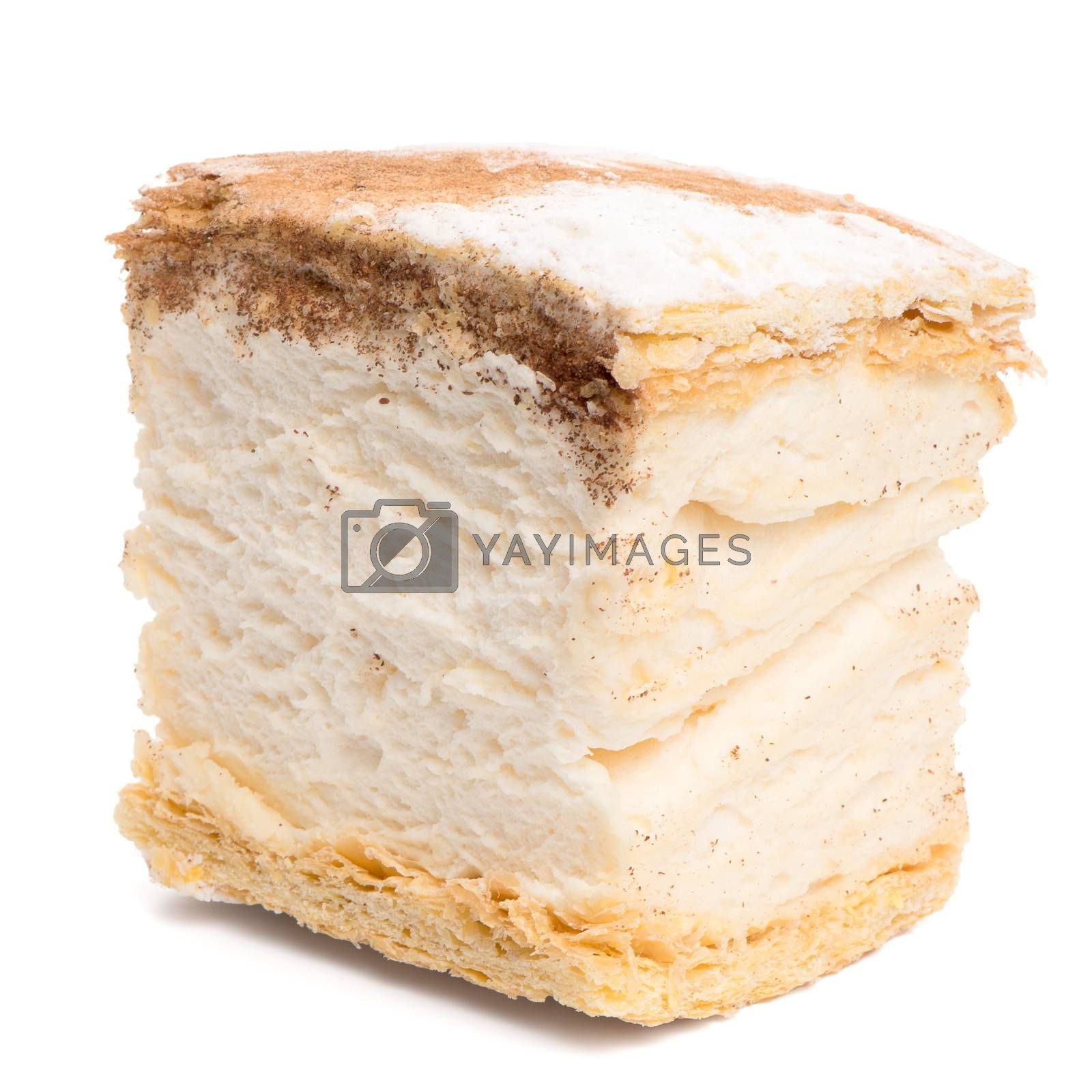 Russo cake pastry isolated on a white background.