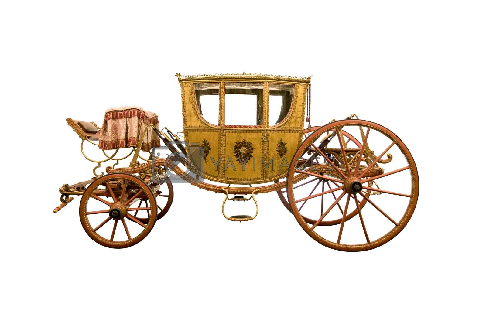 Vintage four-wheel horse drawn carriage isolated on white background