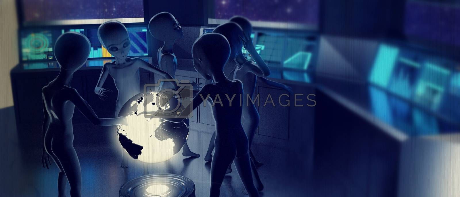 3d illustration of aliens discussing about the earth destiny