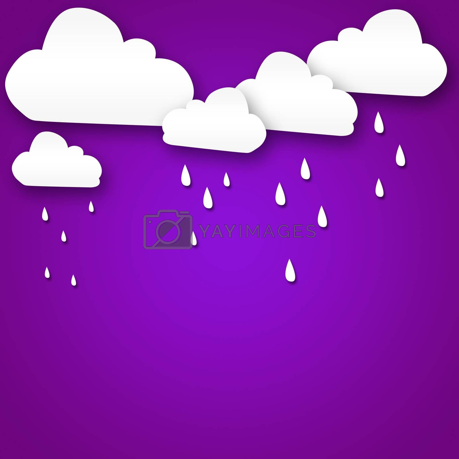 Set of various white clouds on purple background