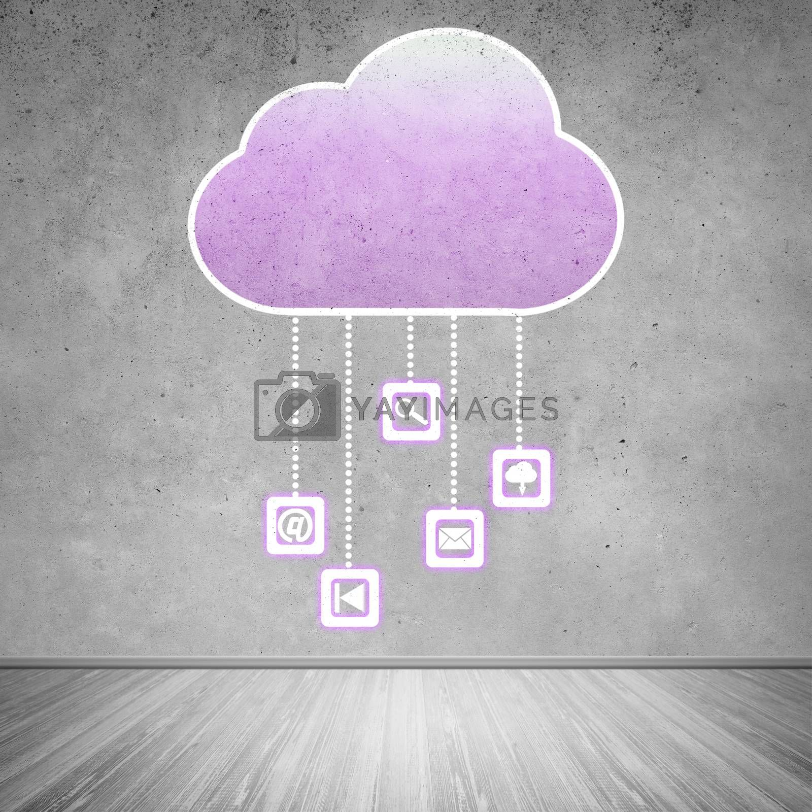 Colorful cloud with business icons on cement wall