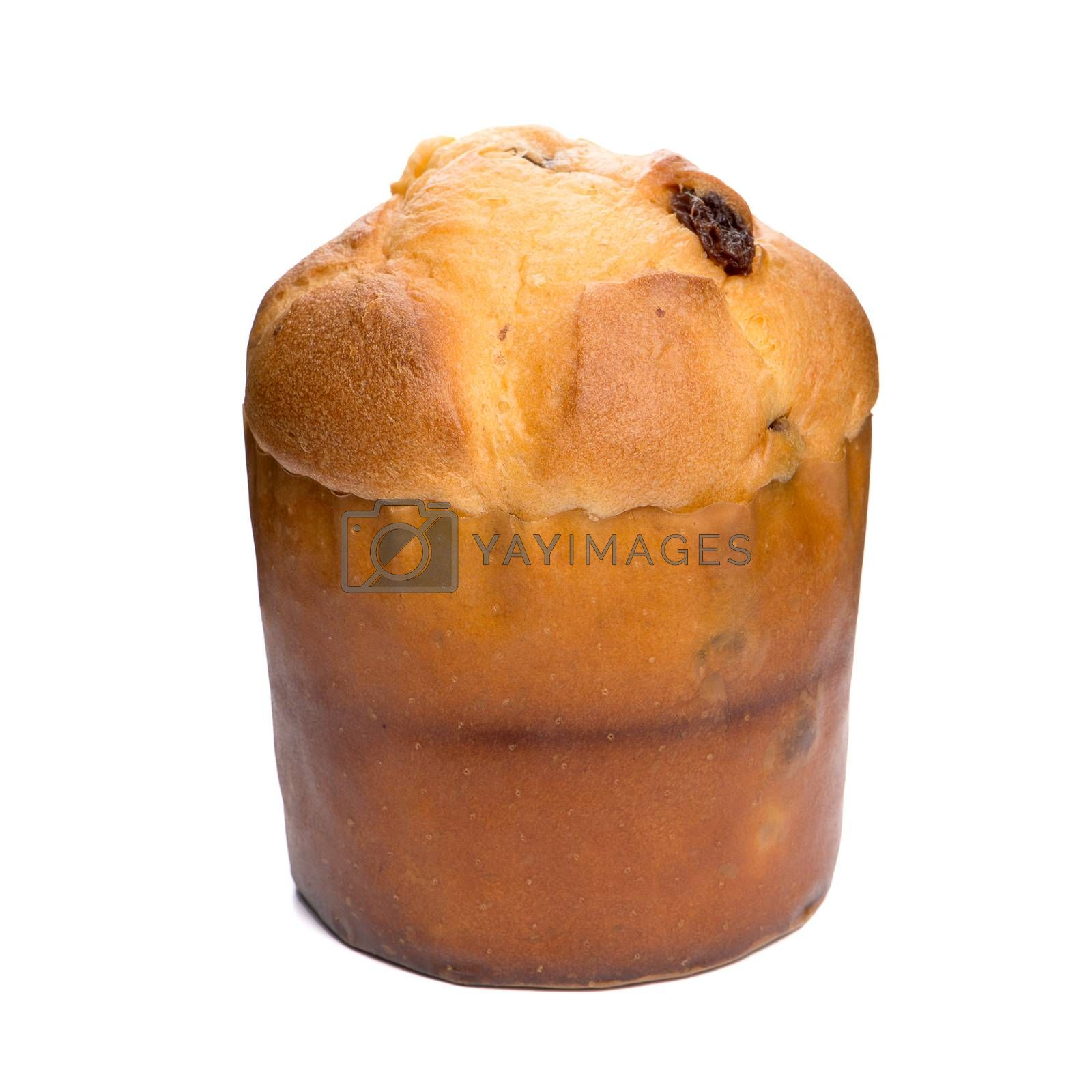 Panettone, typical Christmas dessert isolated on white background.