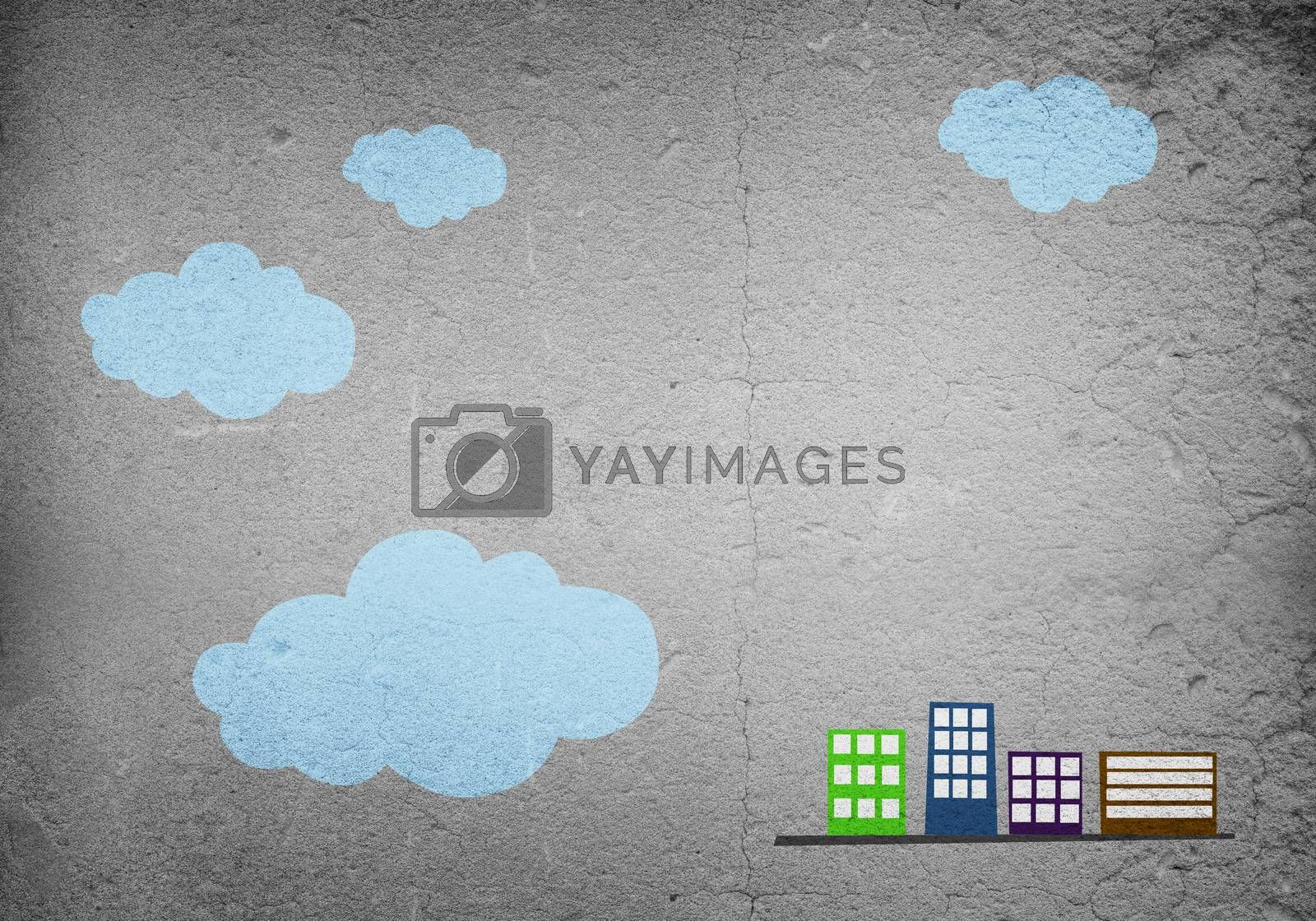 Conceptual vector image with buildings on cement wall