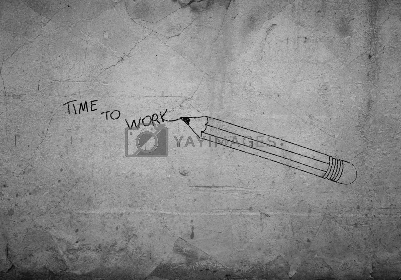Background conceptual image with draw pencil on wall