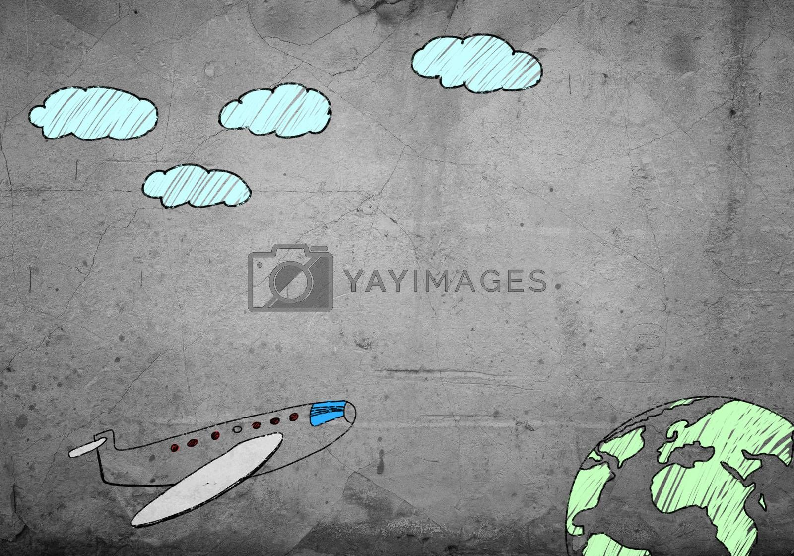 Hand drawn flying airplane on cement wall