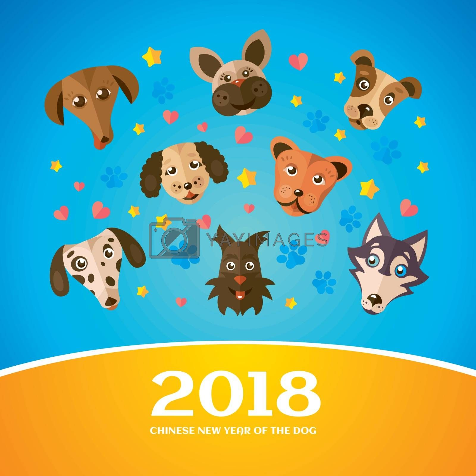 Chinese New Year Greeting Card. 2018 Year of The Dog. Vector illustration.