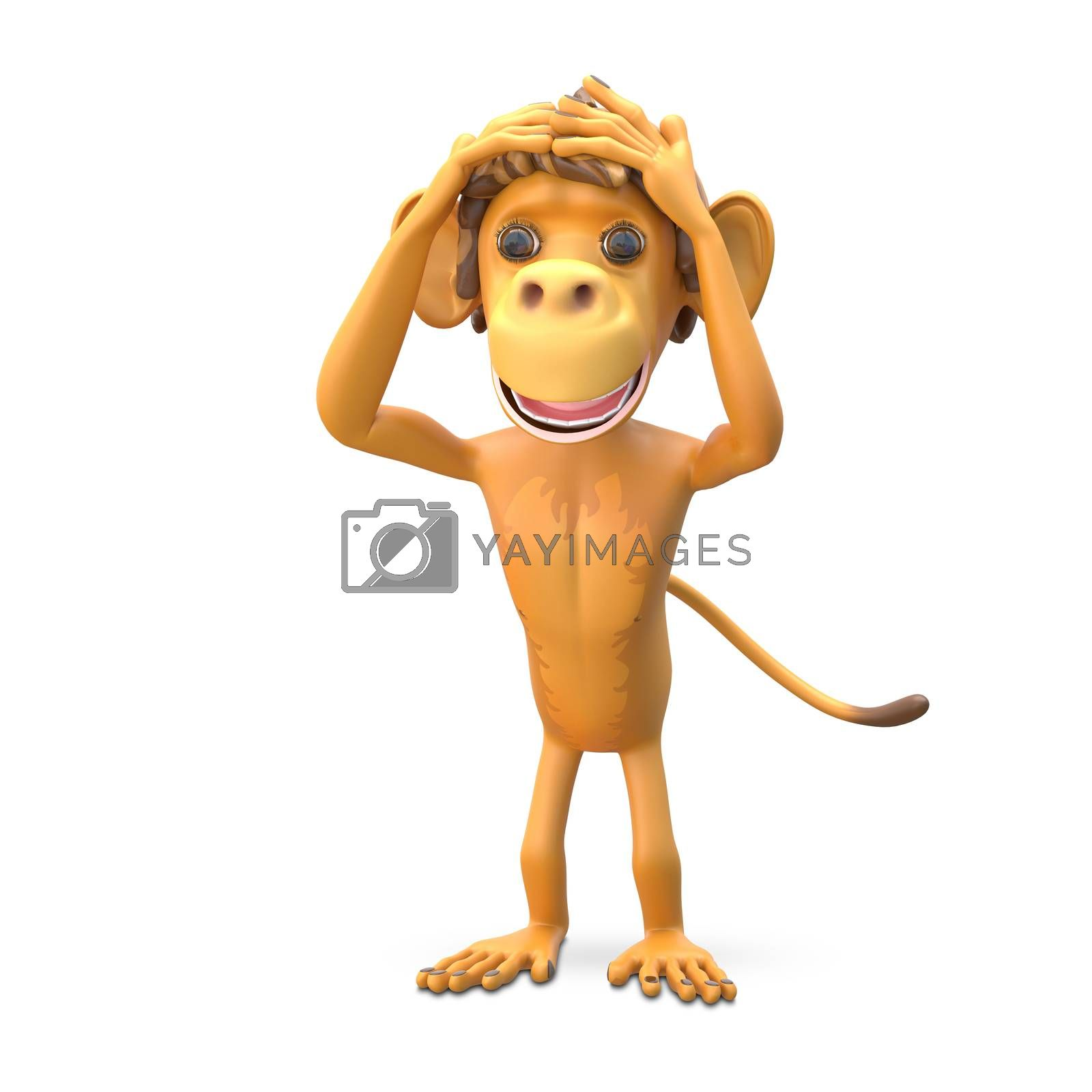 3D Illustration of a Scared Monkey on White Background