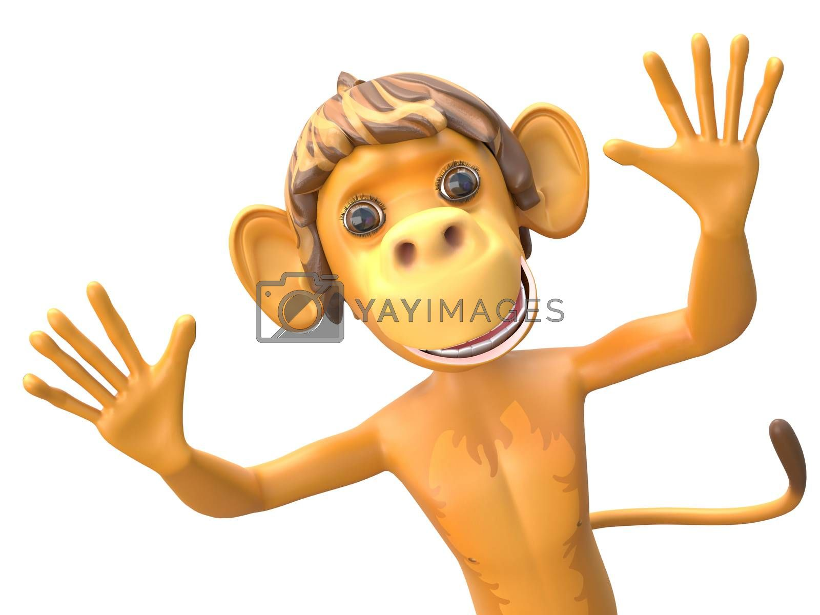 3D Illustration of a Jolly Monkey on White Background