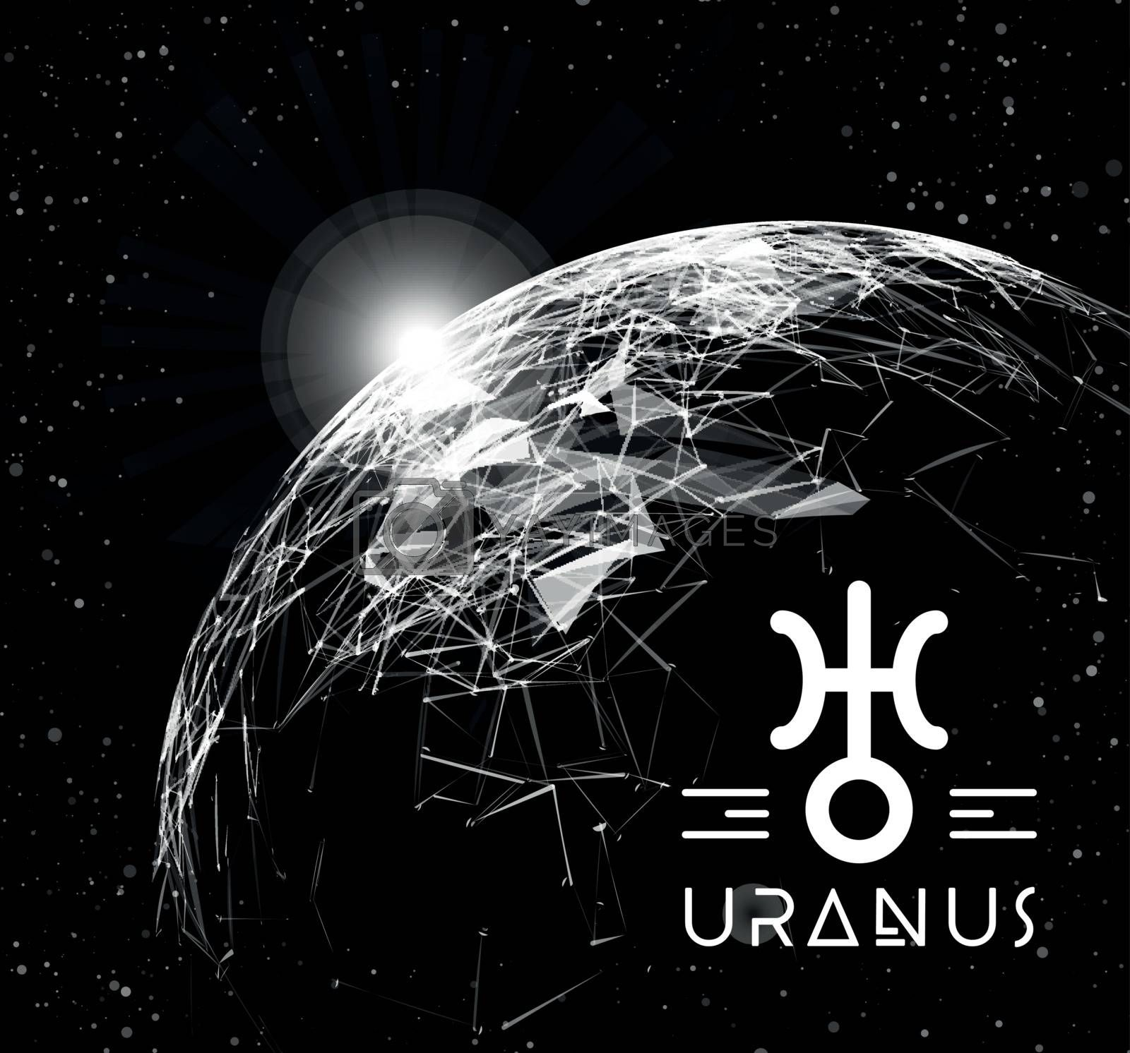Royalty free image of Planet Uranus in the form of polygonal mesh elements in the form of lines and points. The planet in astrology is responsible for modern technologies and innovations. Vector by sermax55