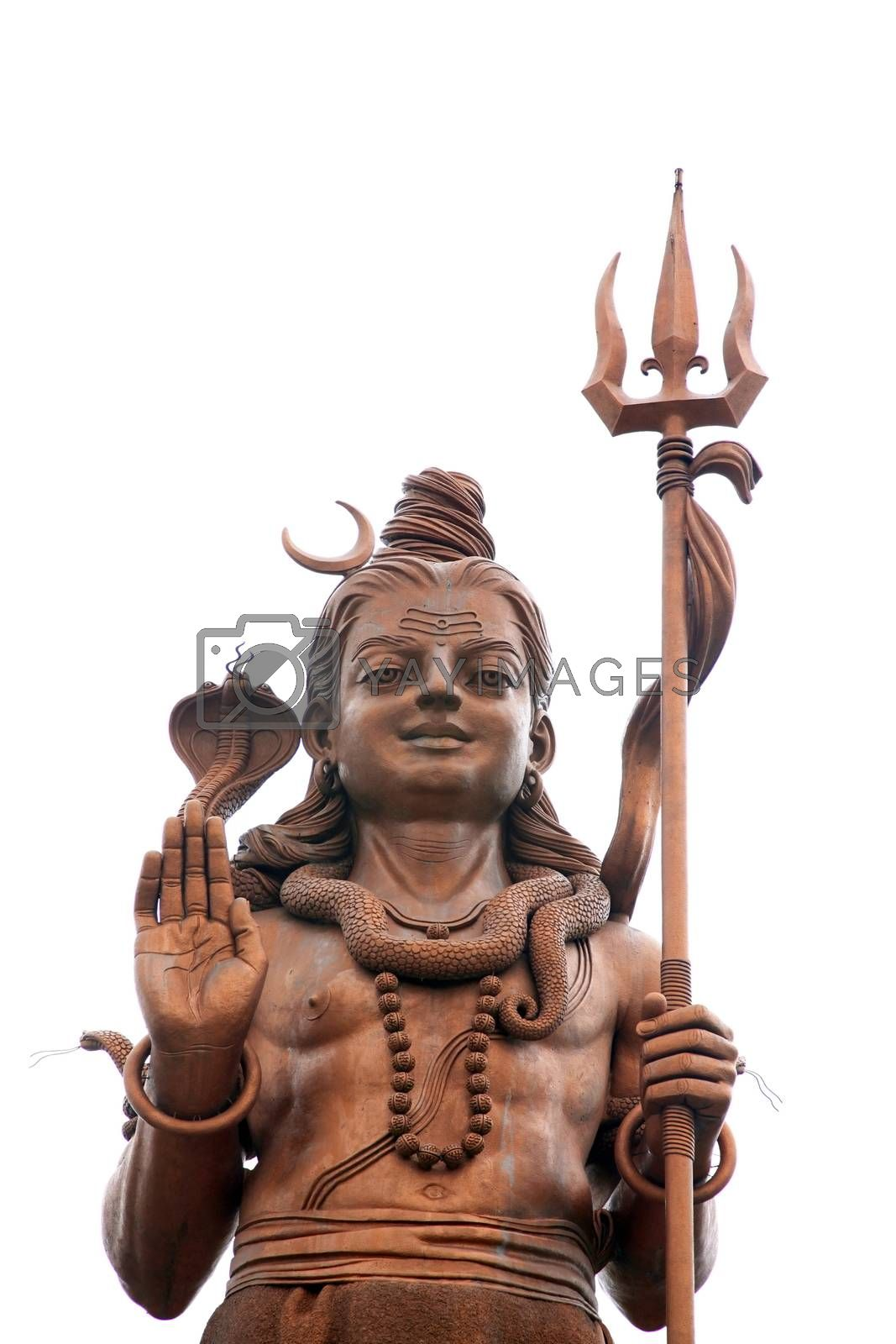 Statue of Lord Shiva on white background. Mauritius