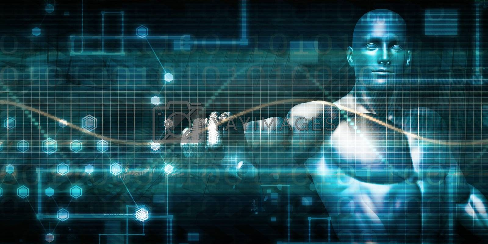 Man Working with Digital Technology of the Future