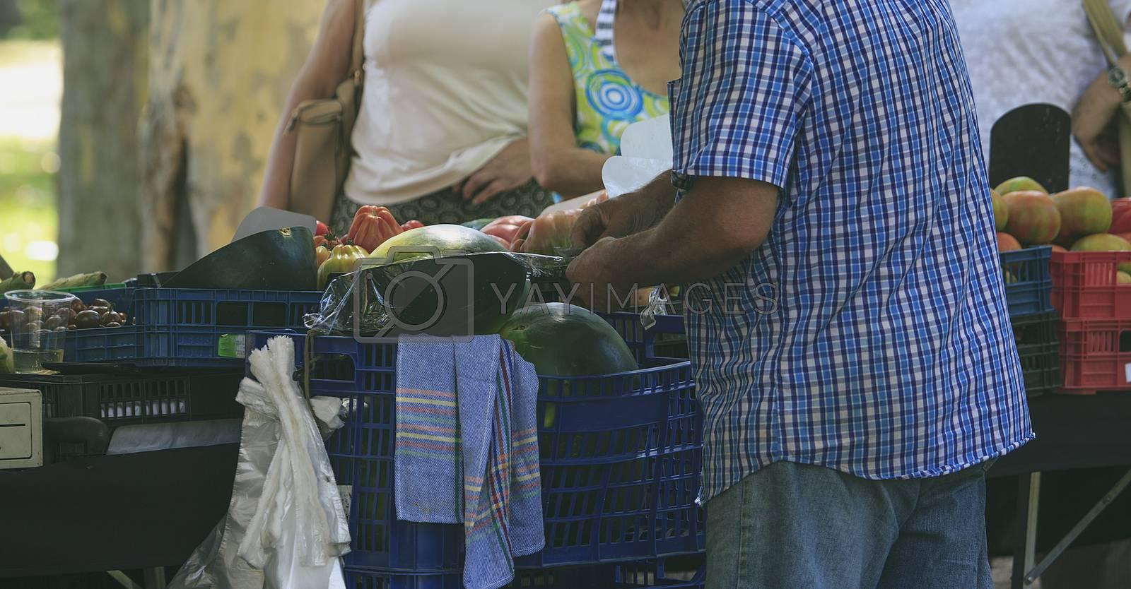 Fruit market in a street of Barcelona