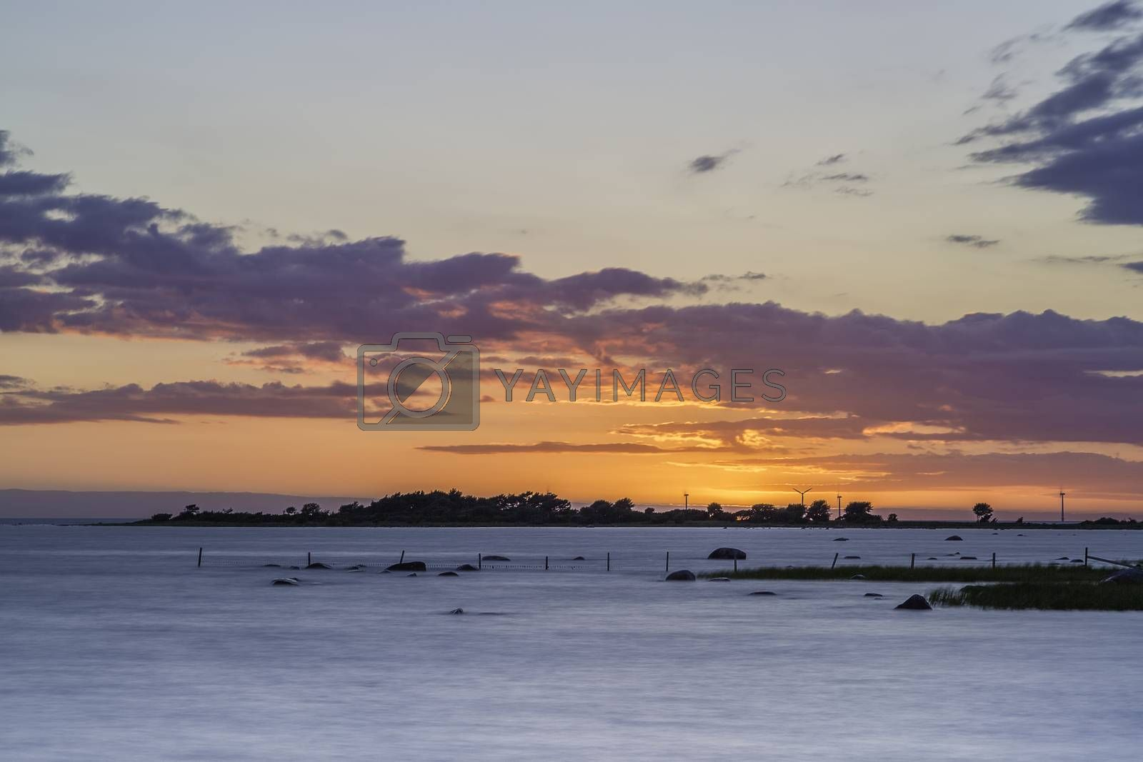 Sunset over Ocean in Gotland, Sweden.