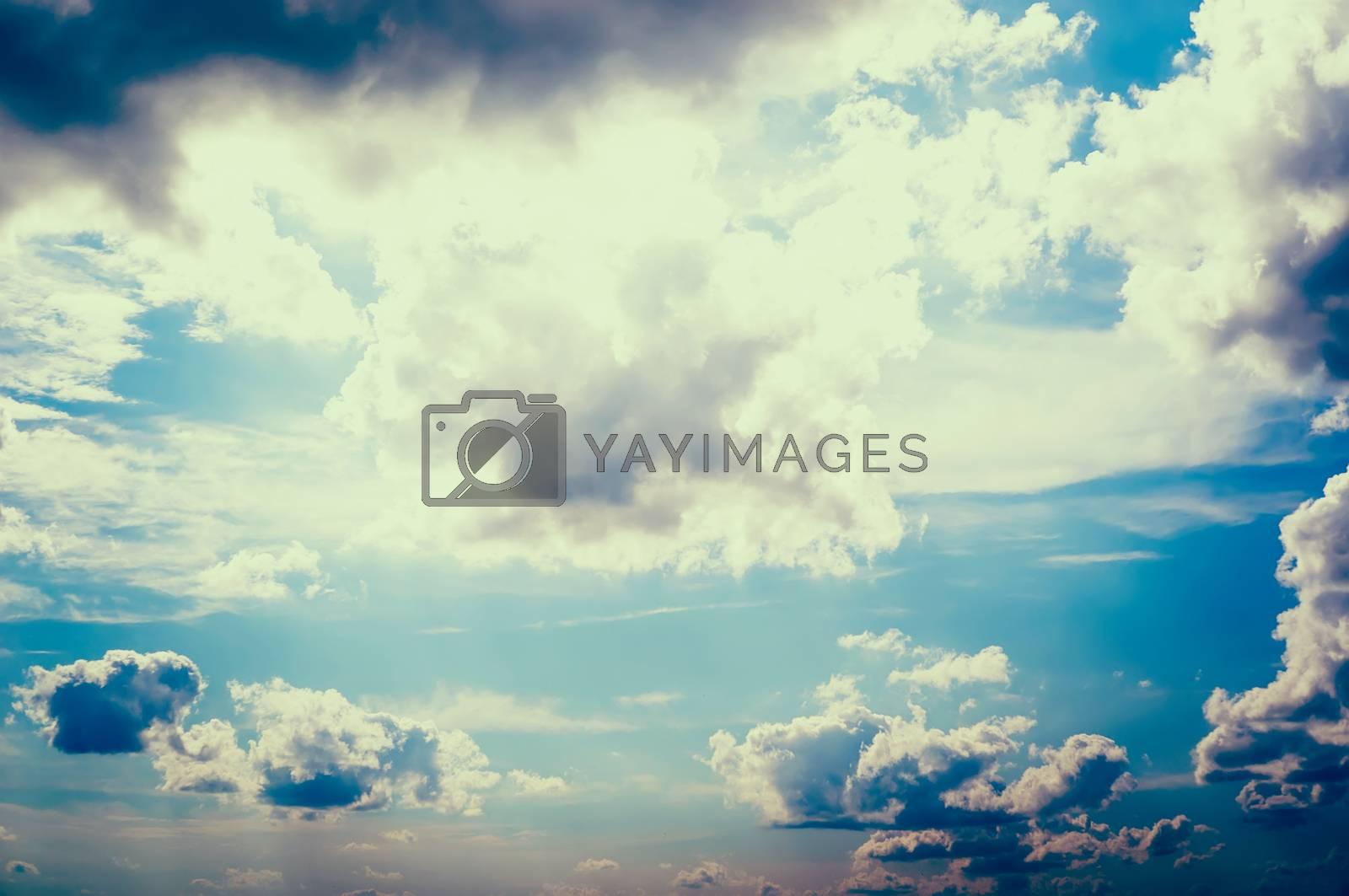 Grunge background of blue sky. retro toned photo