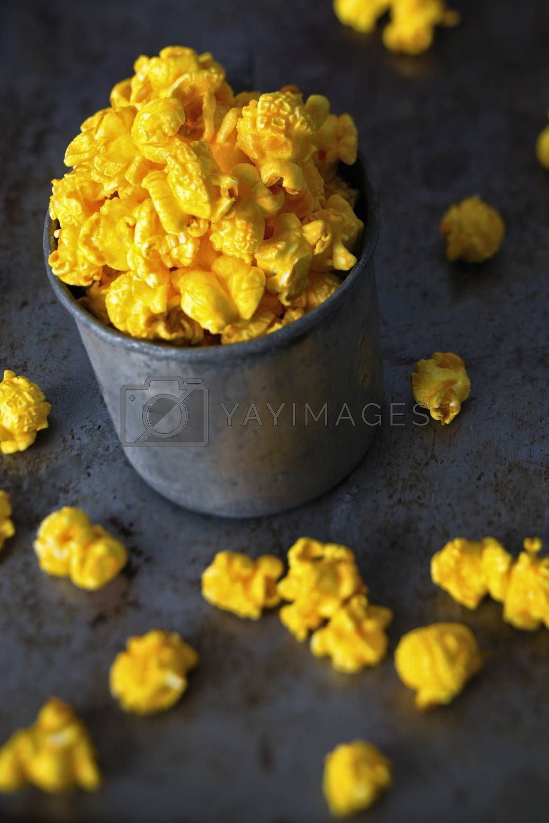 close up of rustic golden cheese popcorn