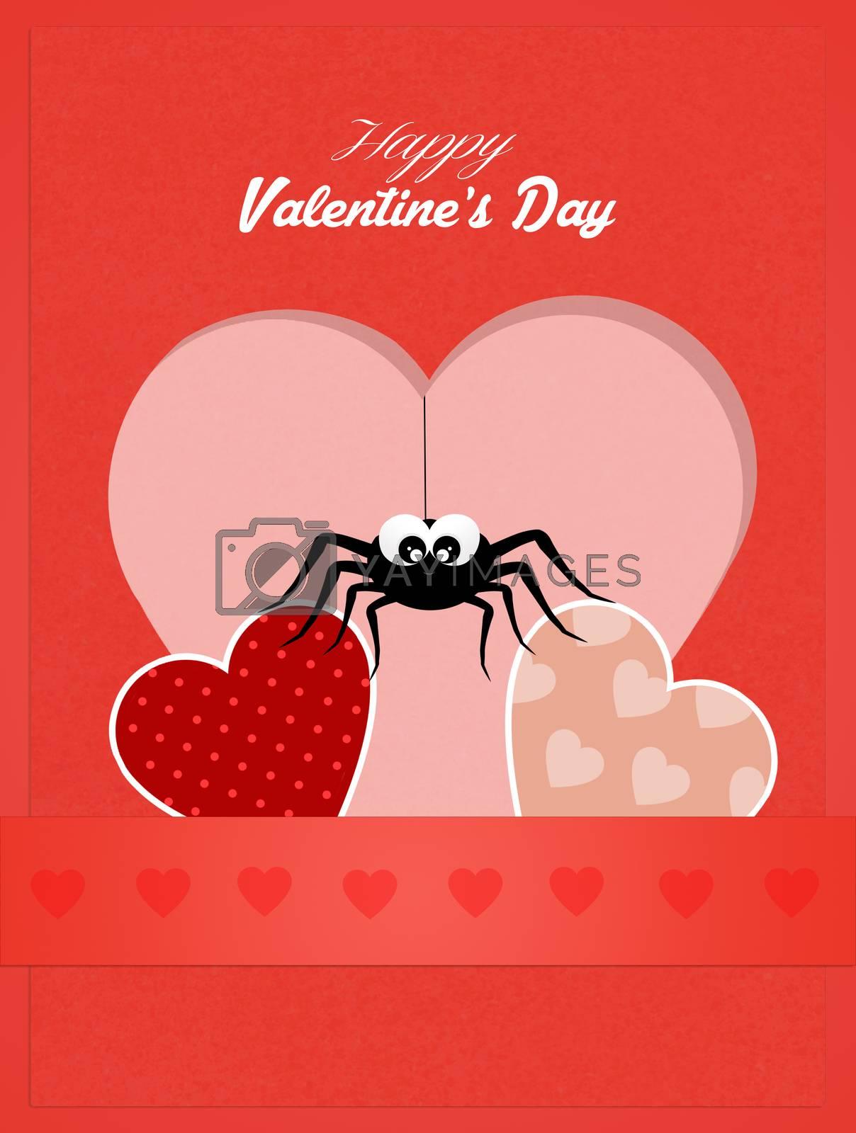 illustration of Valentines postcard