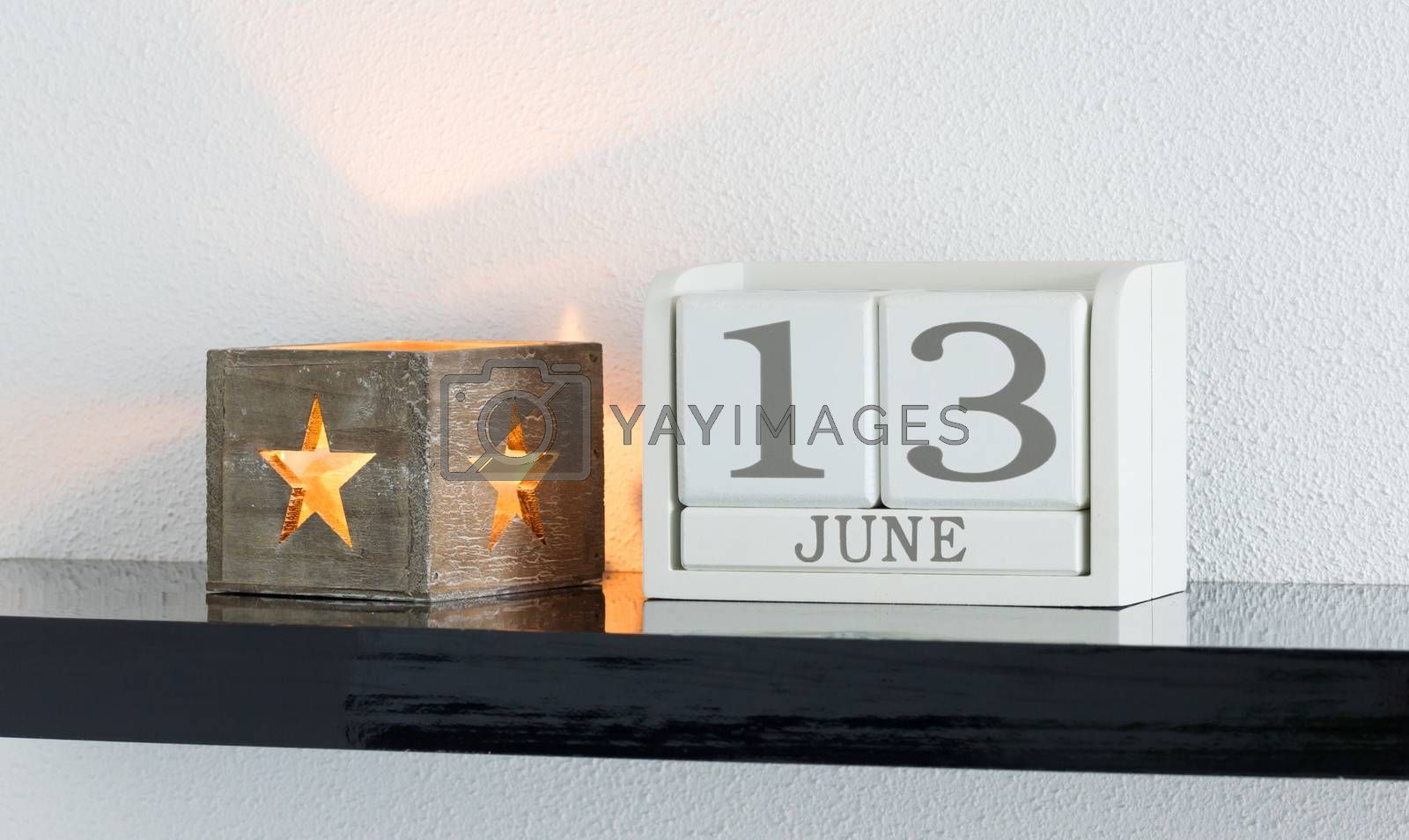 White block calendar present date 13 and month June by michaklootwijk