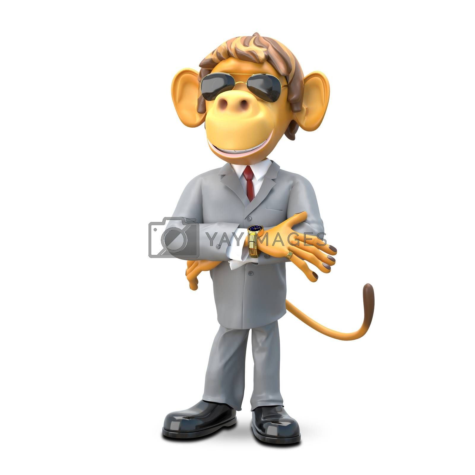 3D Illustration Monkey Boss on White Background