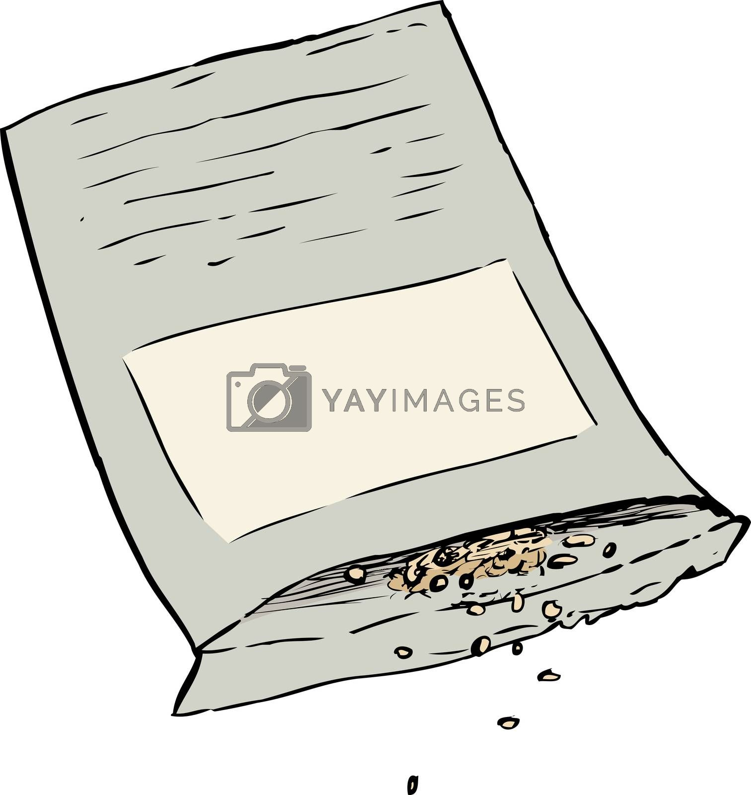 Seeds spilling out of open packet over isolated white background