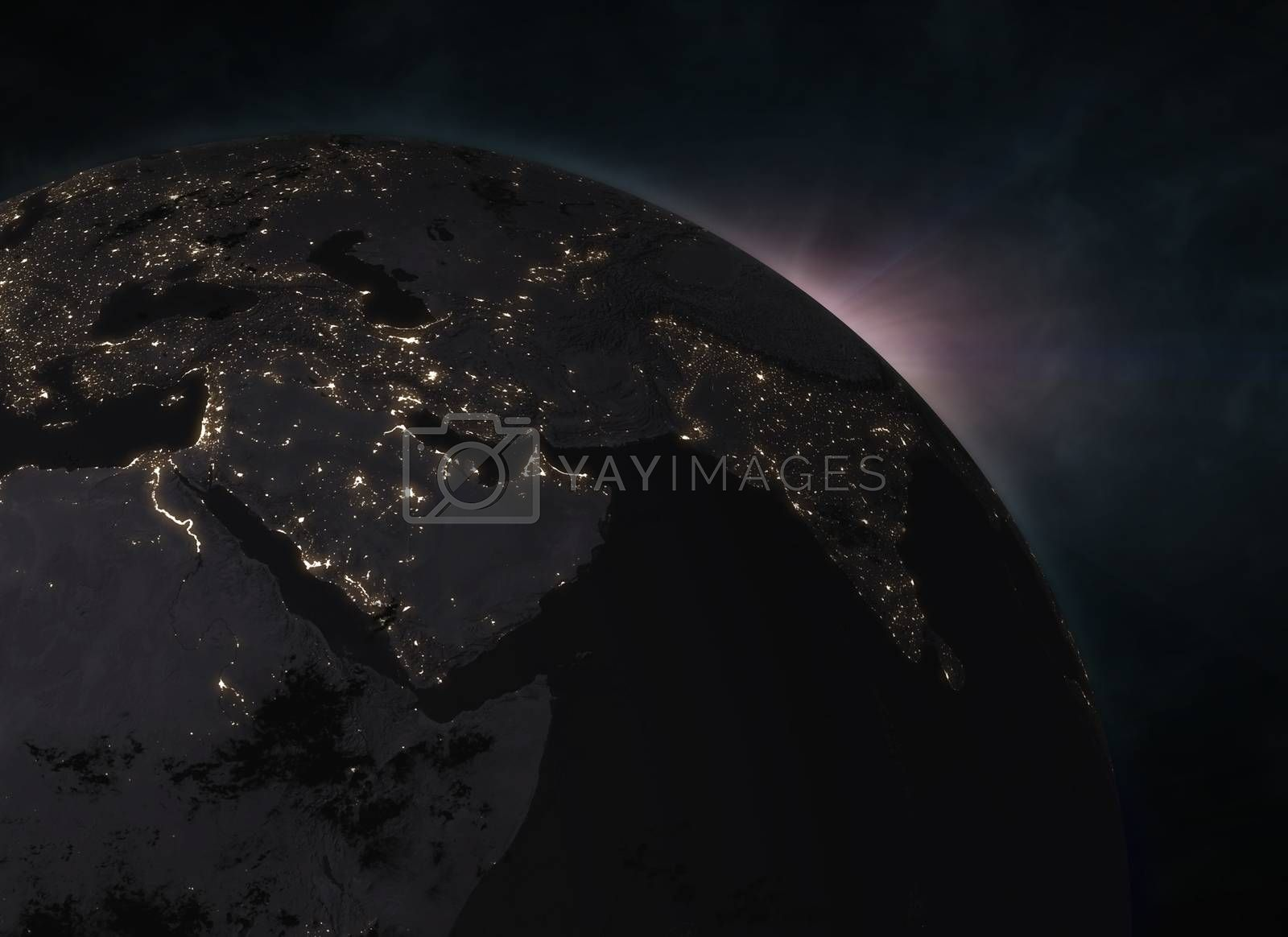 Planet Earth with sunrise in the space - Europe by cherezoff