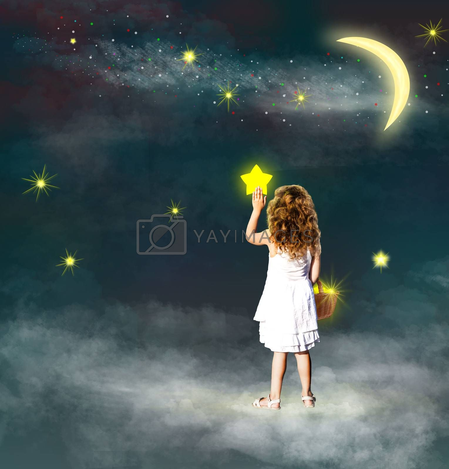 A little girl places the asterisks in the sky. A little girl holds a basket with asterisks and places them in the sky. Girl on the background of the starry sky. Starry sky and clouds.