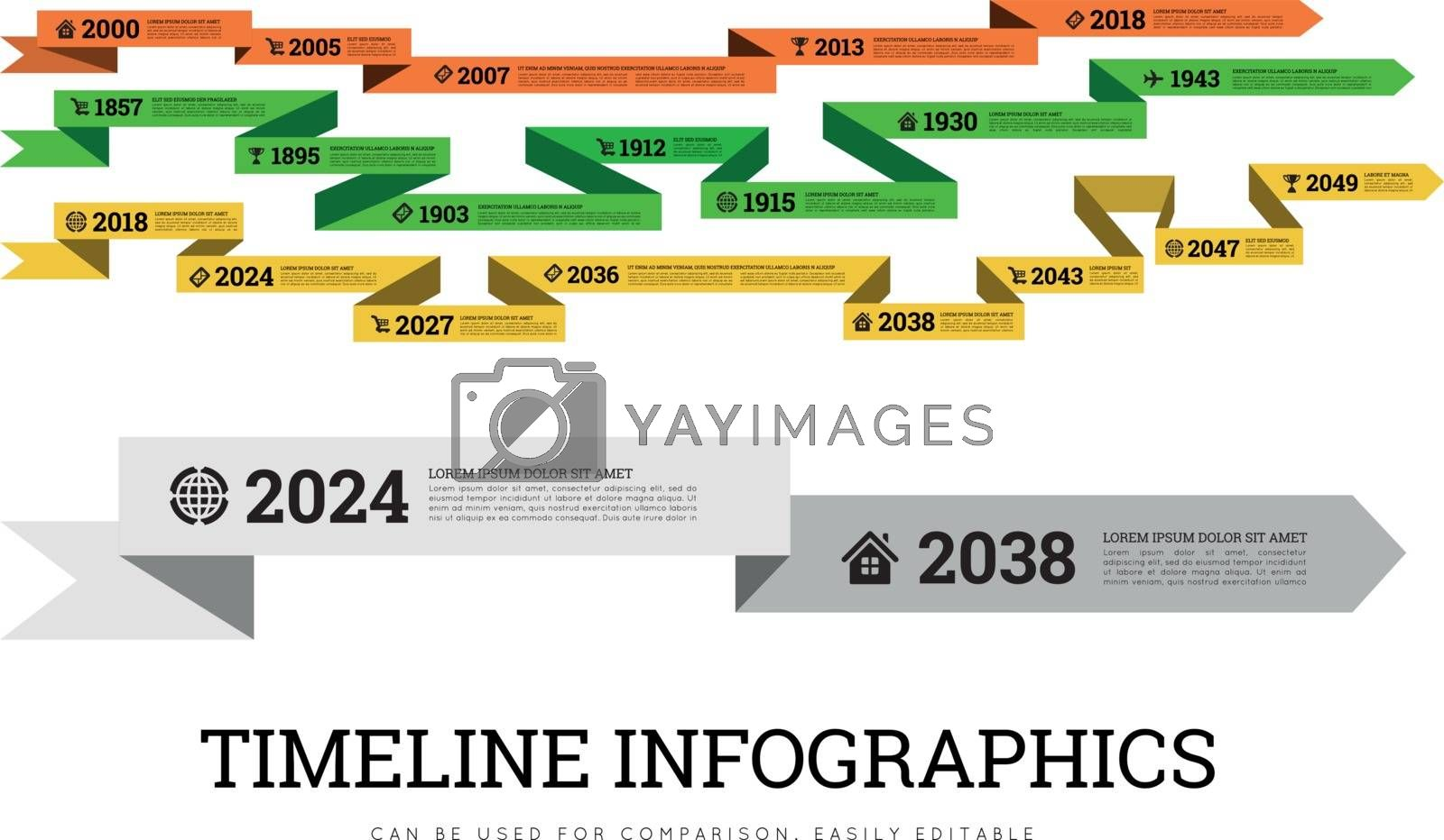Royalty free image of Timeline infographic vector illustration with ribbon. Can be used to compare activities or biographies by sermax55