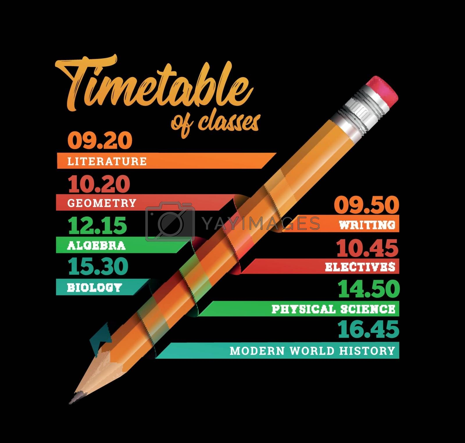 Royalty free image of Timetable or timeline vector design template illustration with pencil by sermax55