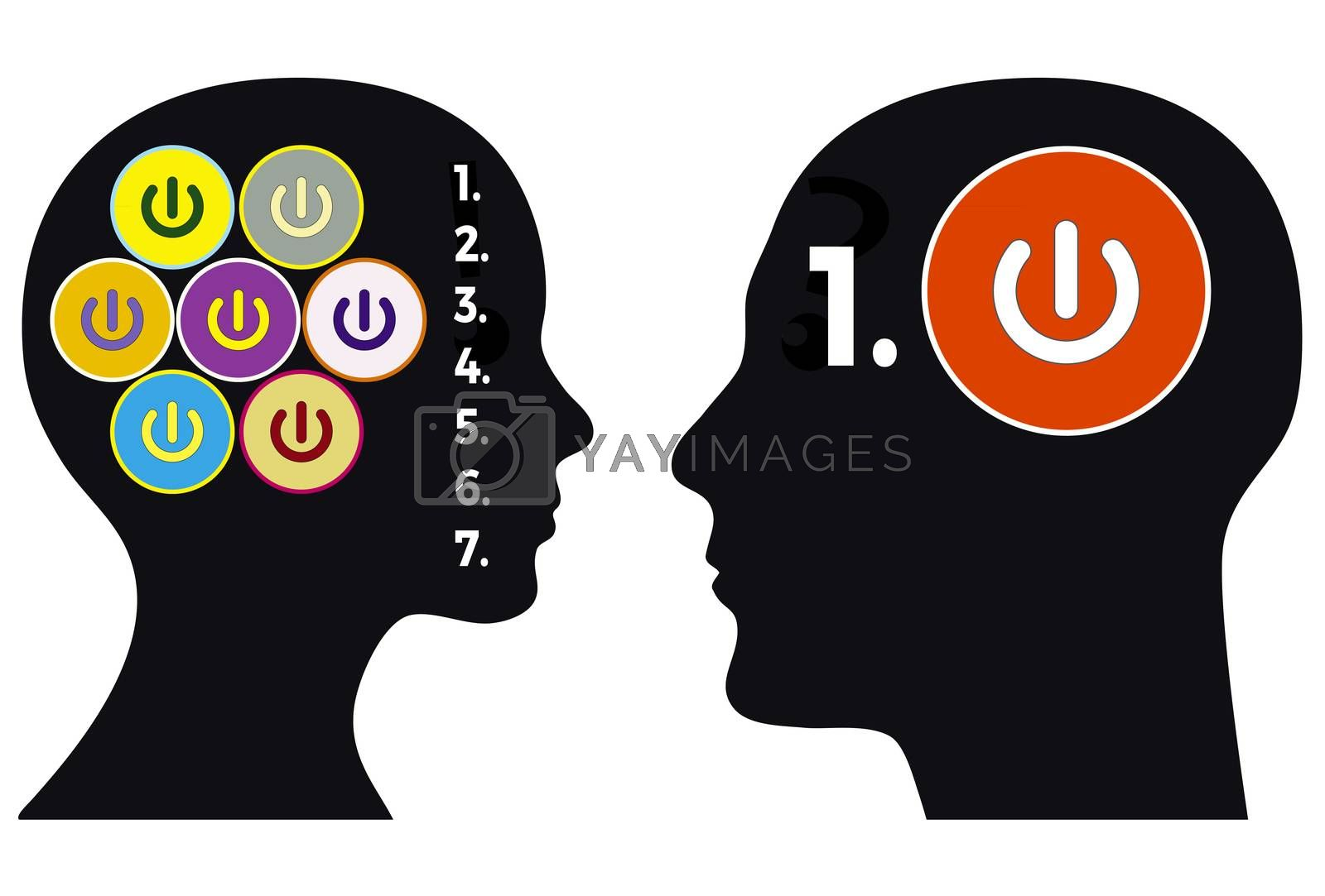 Man and woman differ in the decision making process