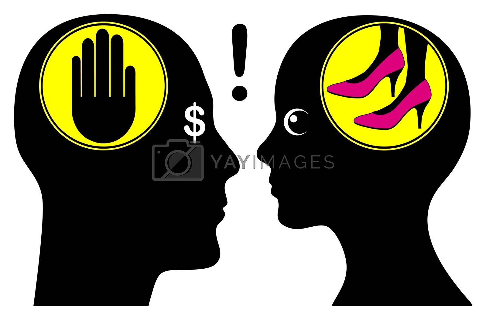 Husband argues about money, since his wife wants to buy shoes.