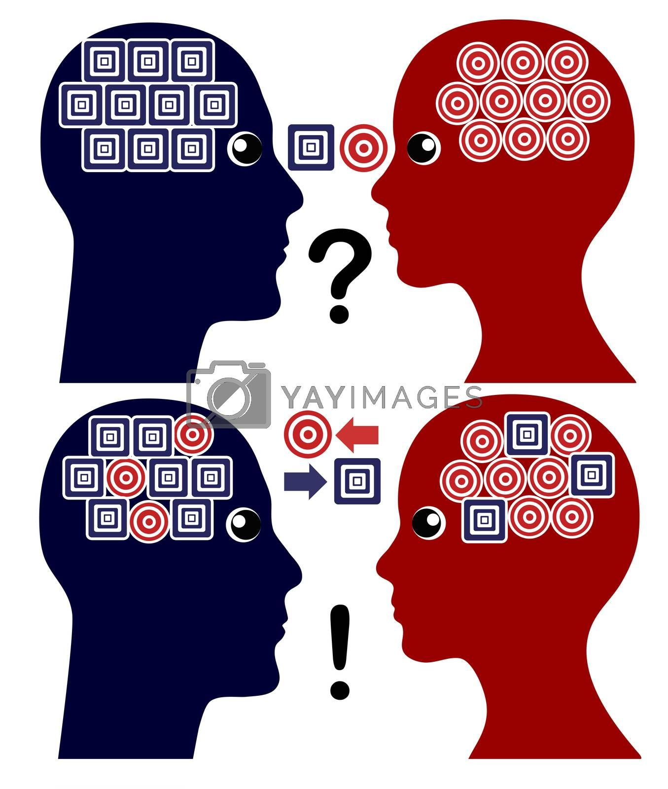 Couple overcomes communication problems by exchanging their different point of views