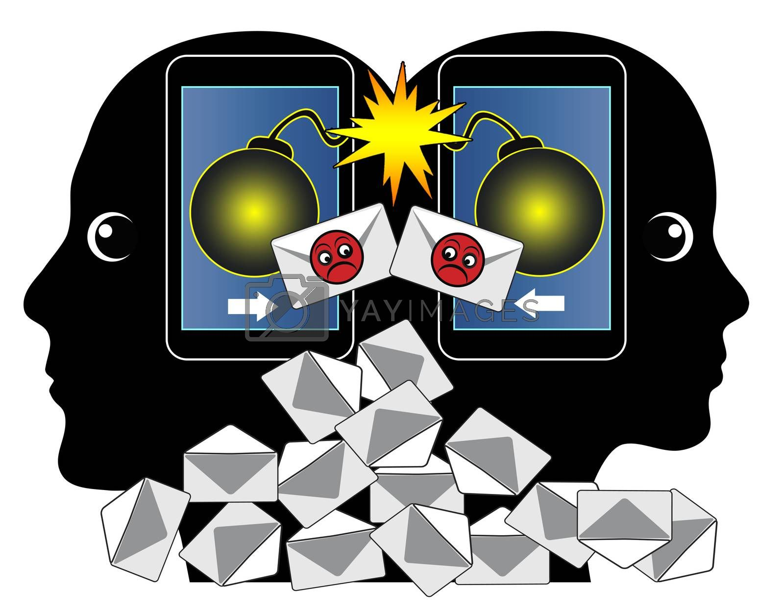 Communication problem between two people through aggressive email messages