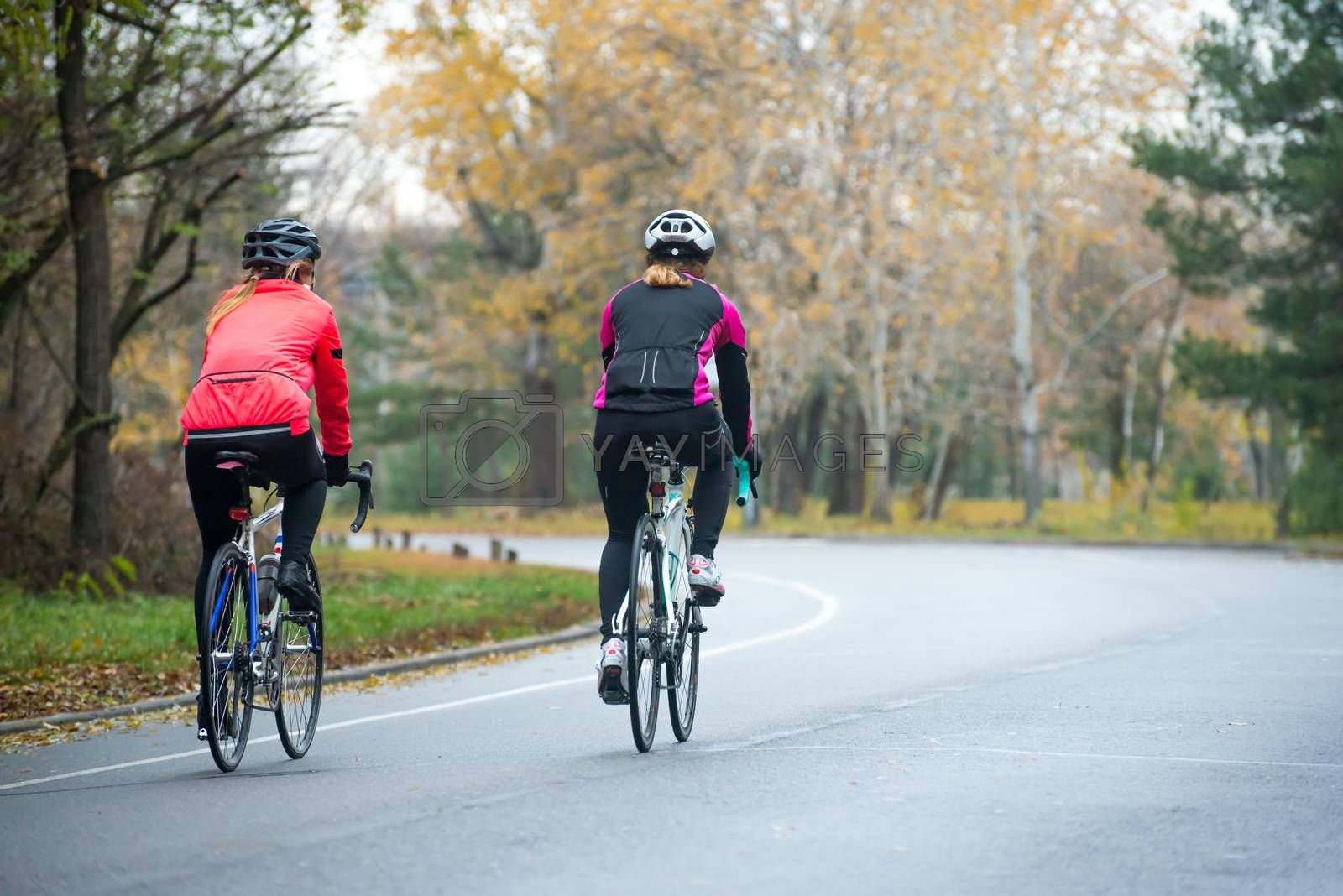 Two Young Female Cyclists Riding Road Bicycles in the Park in the Cold Autumn Morning. Healthy Lifestyle. by maxpro