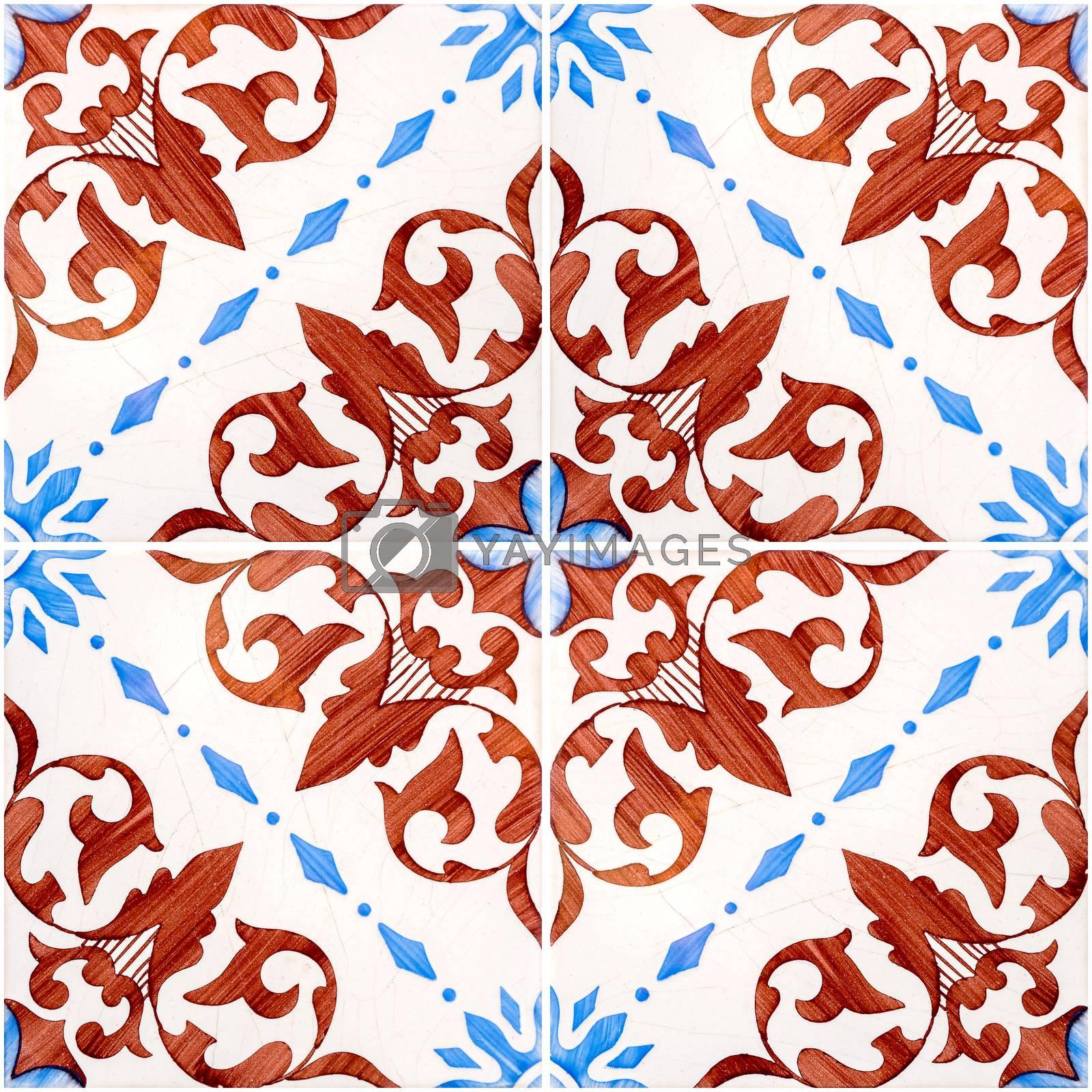 Closeup detail of old Portuguese glazed tiles.
