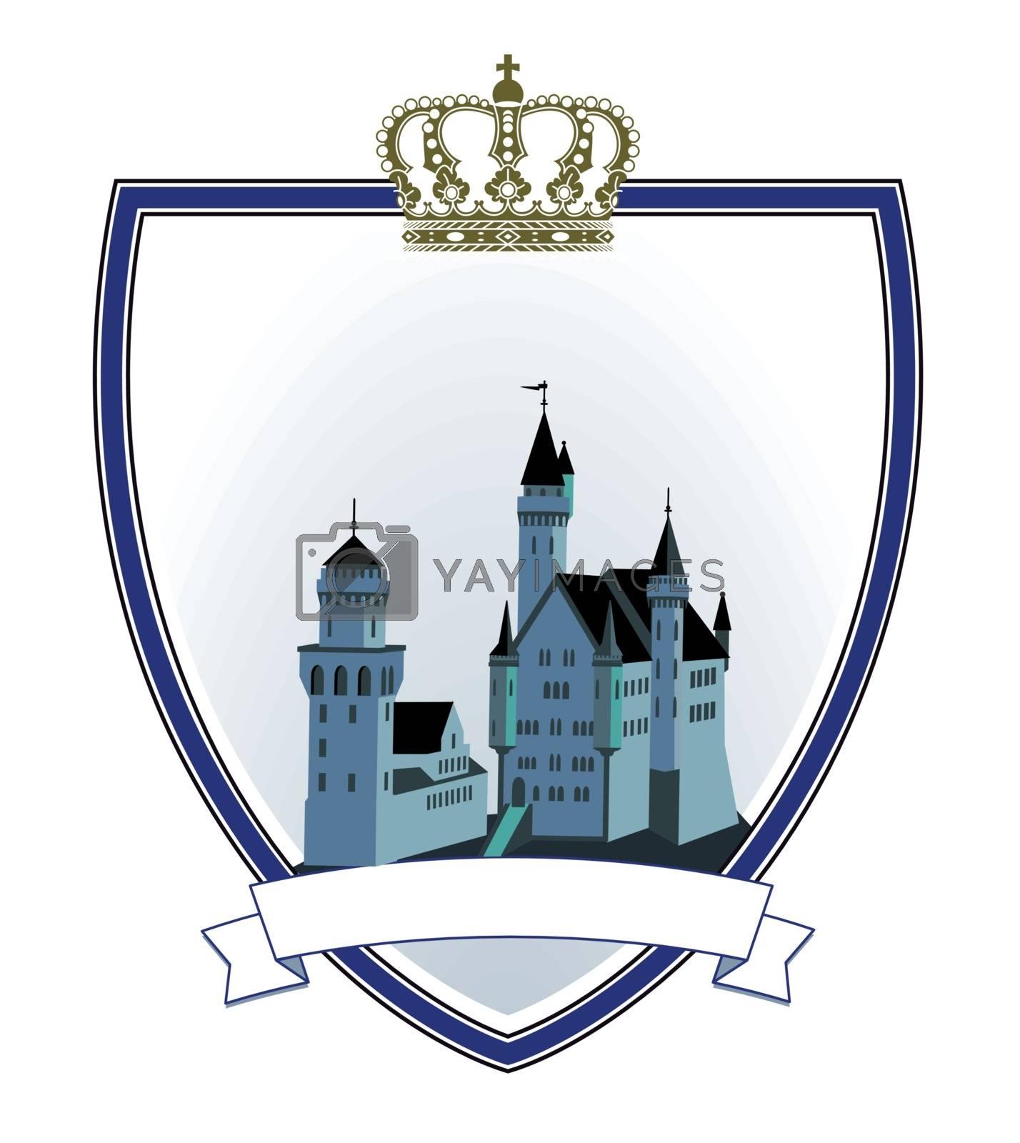 Castle emblem shield with crown