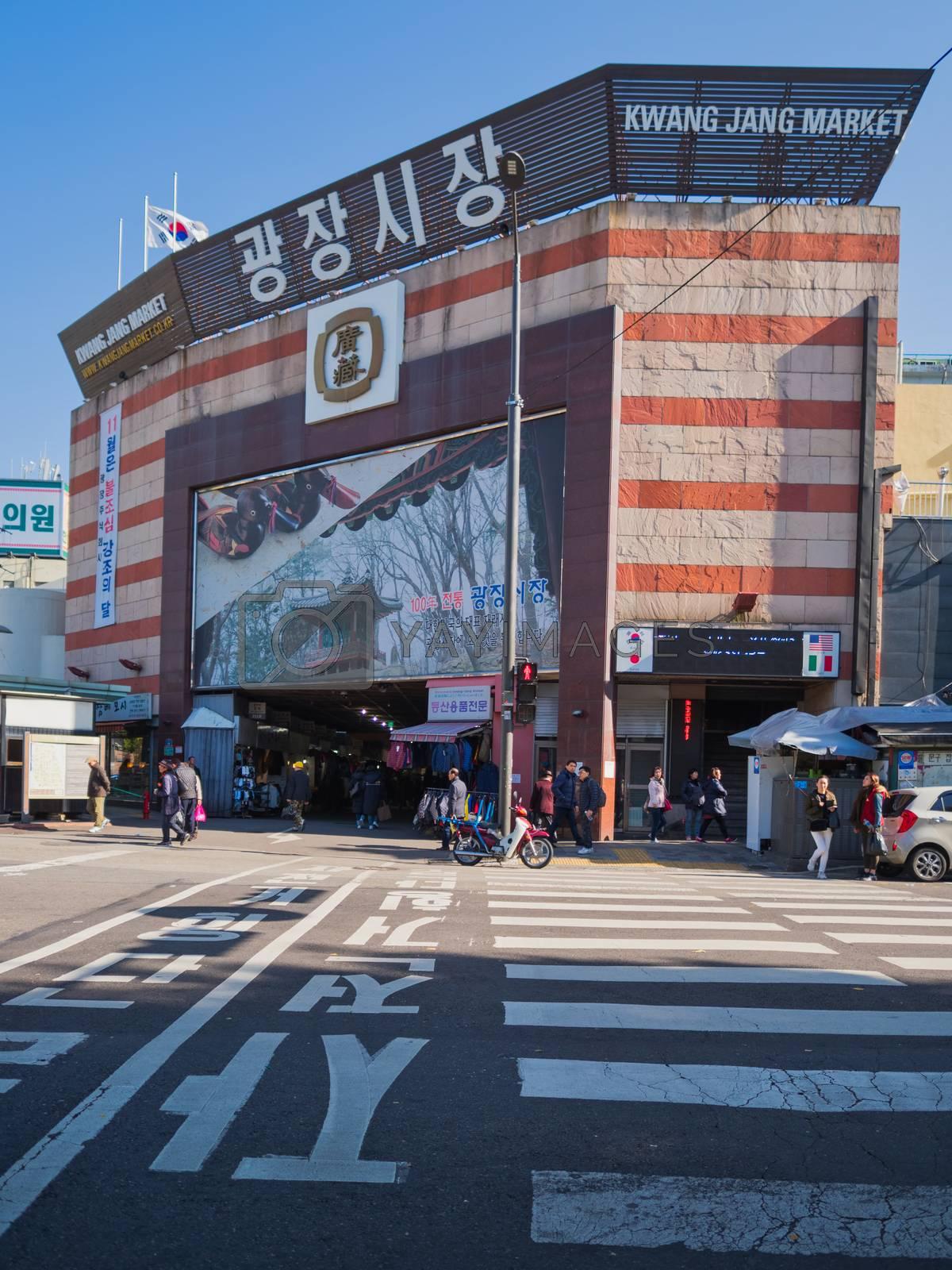 seoul, south korea - 11th november 2017: popular gwangjang traditional market in seoul