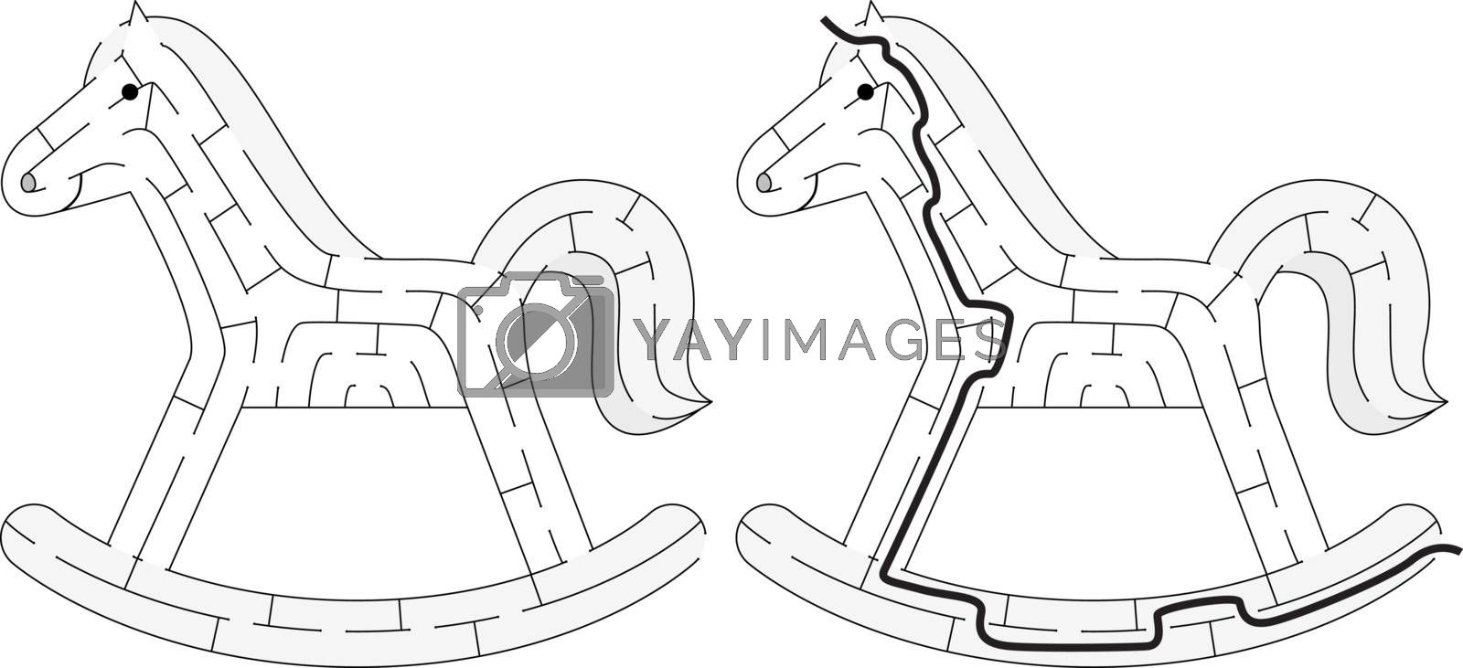 Easy rocking horse maze for kids with a solution in black and white