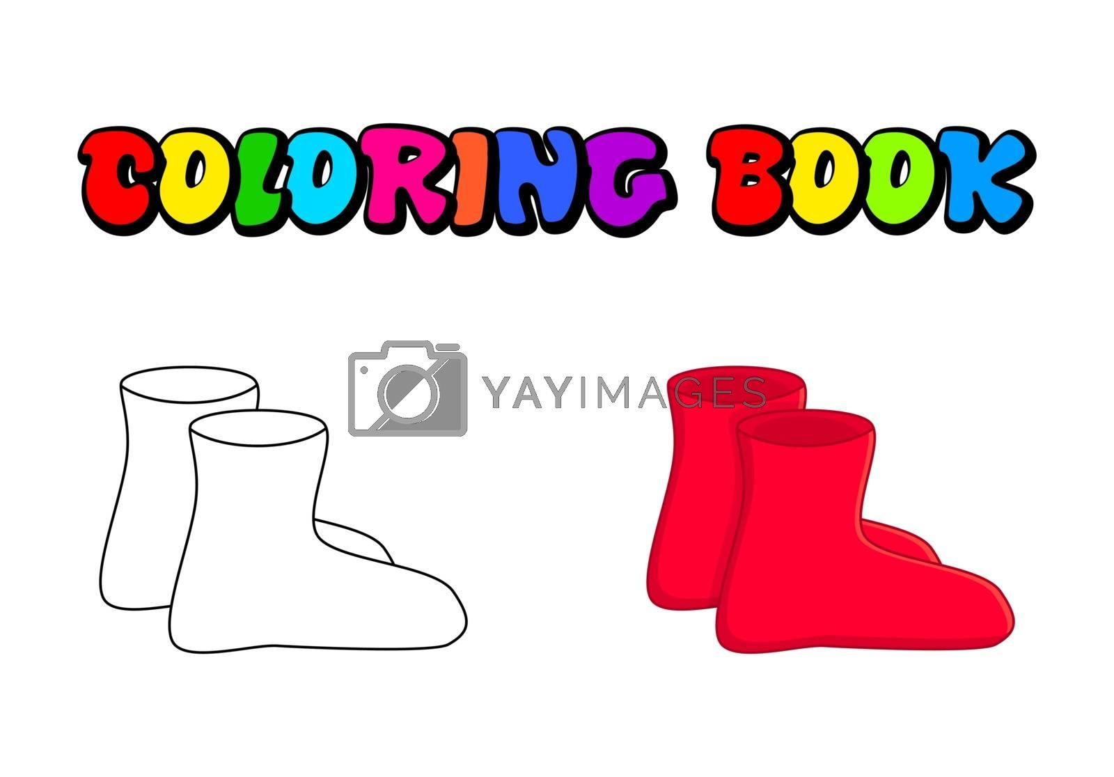rubber boots outline, cartoon simple gumboots isolated on white  by wektorygrafika