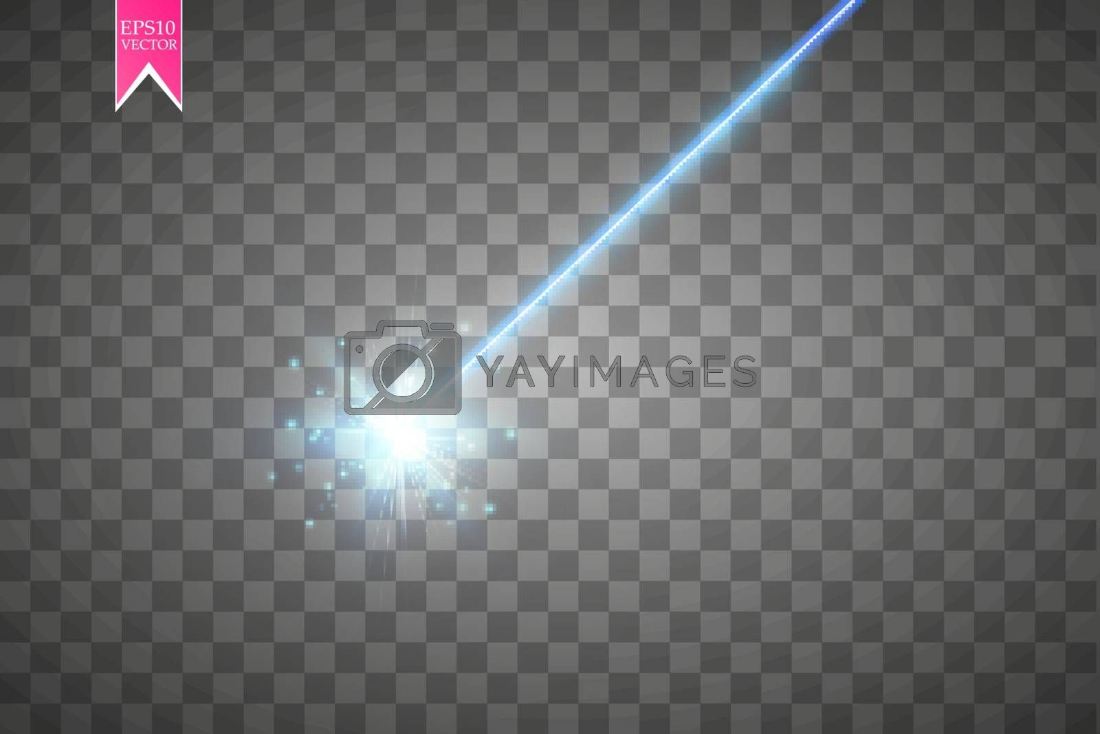 Abstract blue laser beam. Isolated on transparent black background. Vector illustration, by NIKI