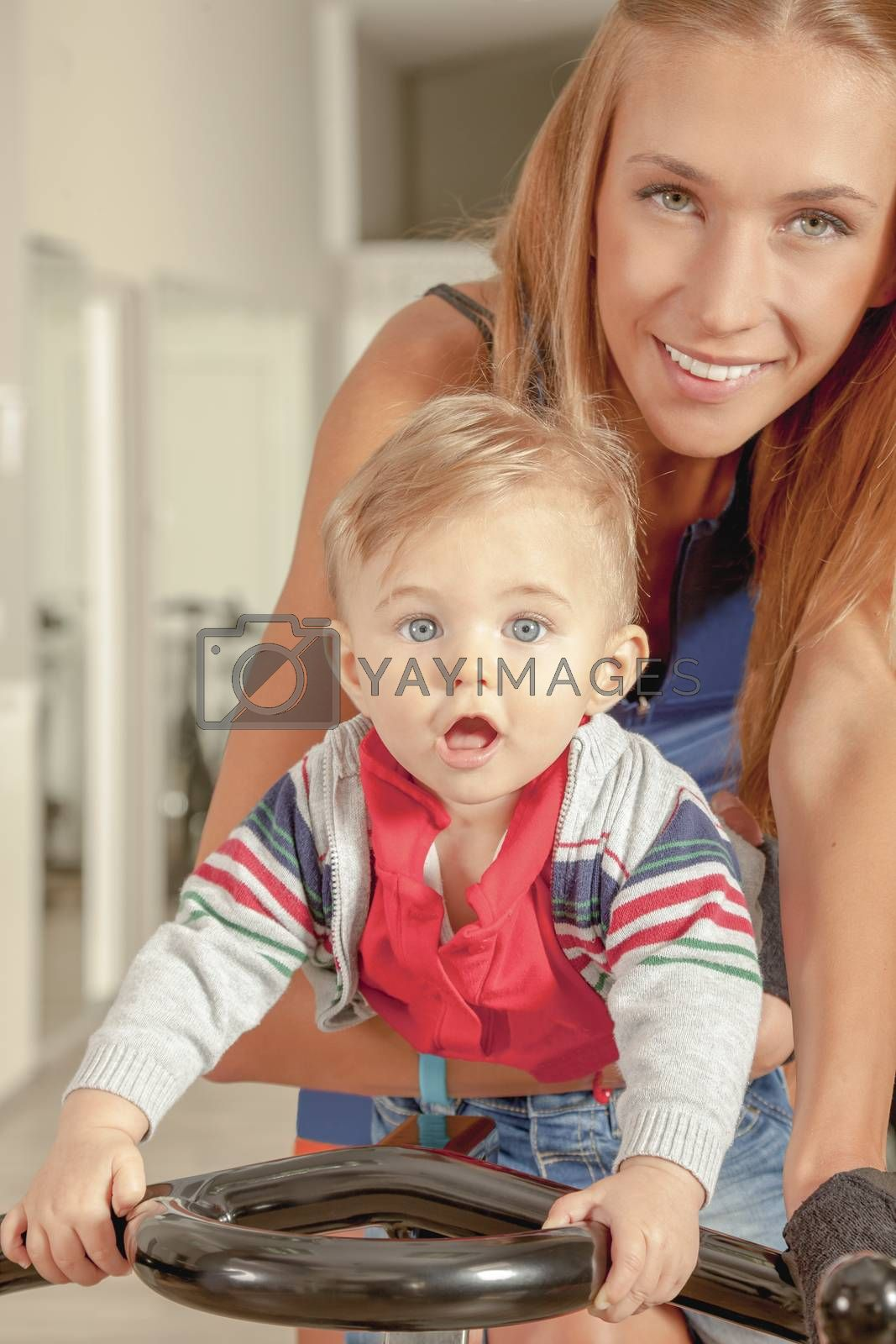 Royalty free image of Baby Mother Cycling Jim by vilevi