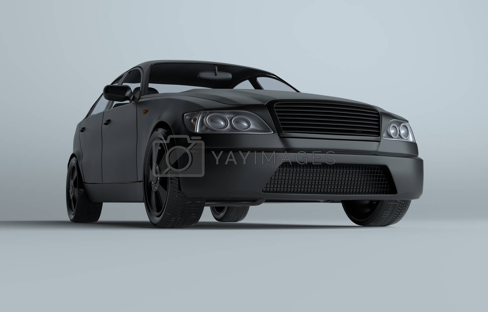 Car on gray studio background - white paint by cherezoff