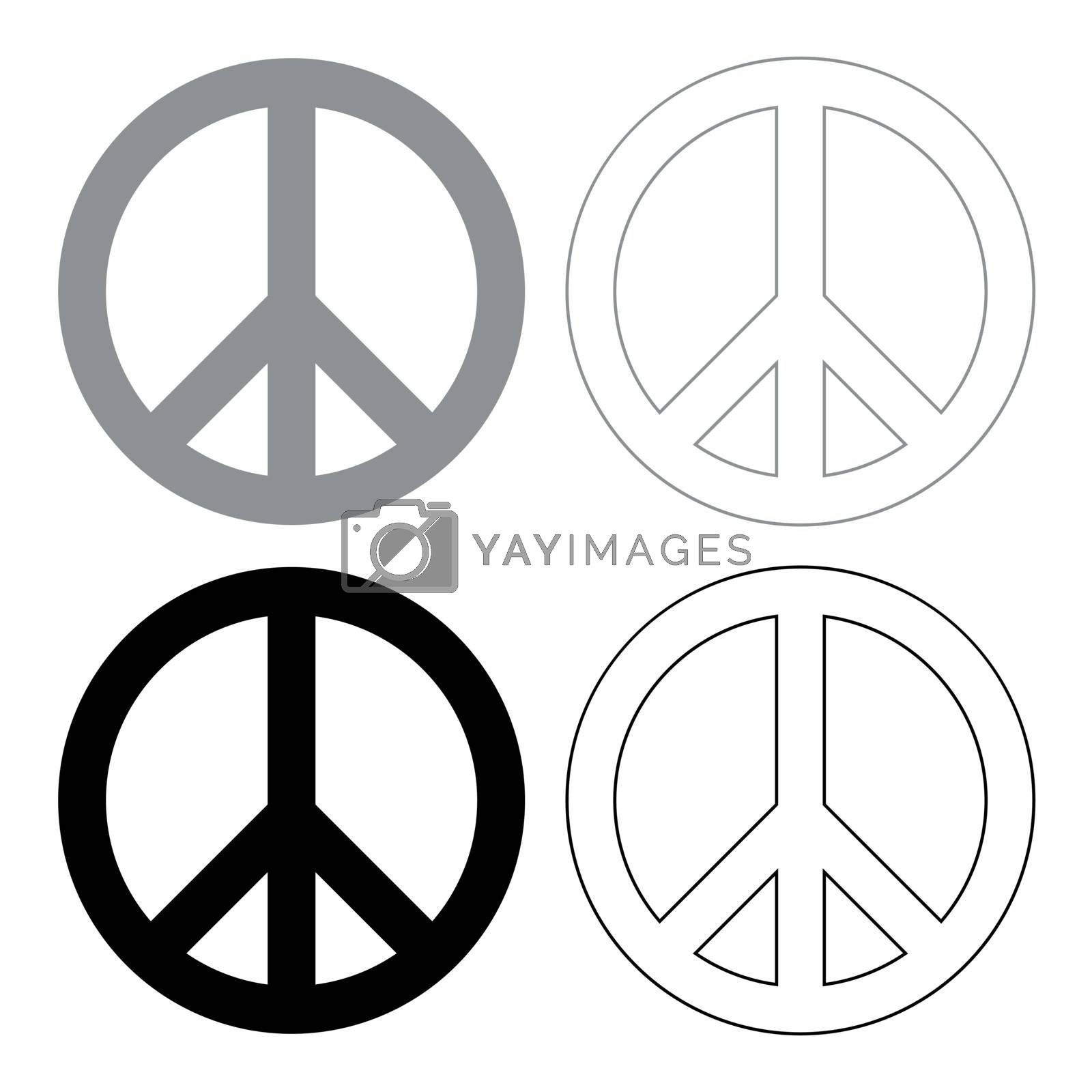 World peace sign symbol icon . Illustration grey and black color . by serhii435