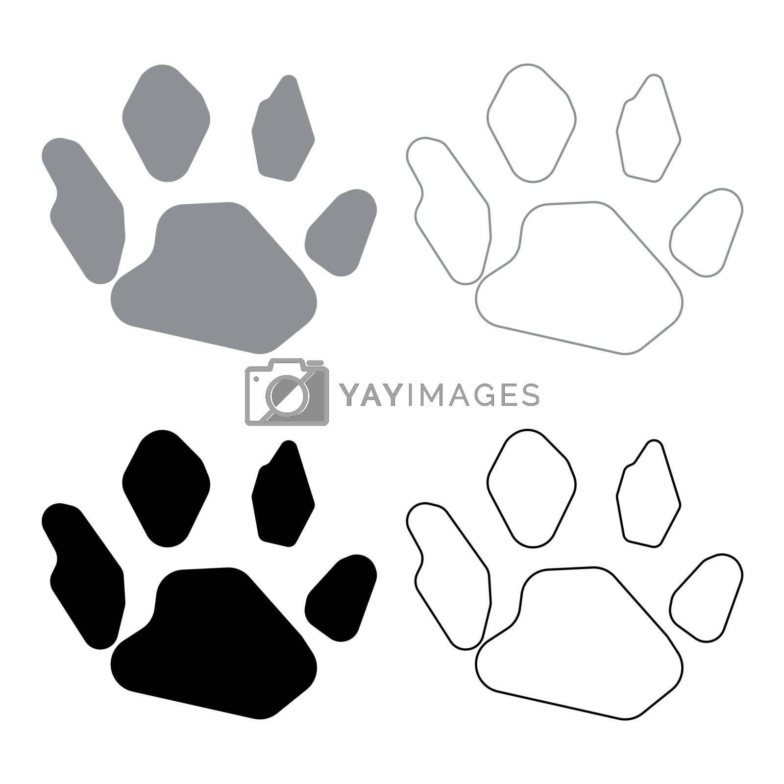 Animal footprint icon . Illustration grey and black color . by serhii435