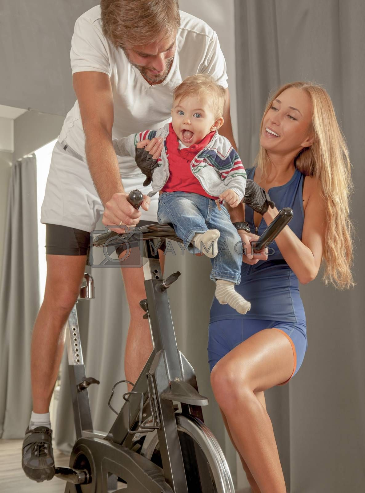 Royalty free image of Family Jim Care Baby Love Cycling by vilevi
