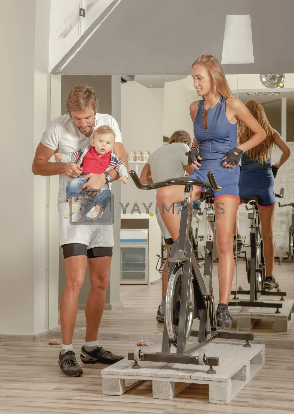 Royalty free image of Family Jim baby Cycling by vilevi
