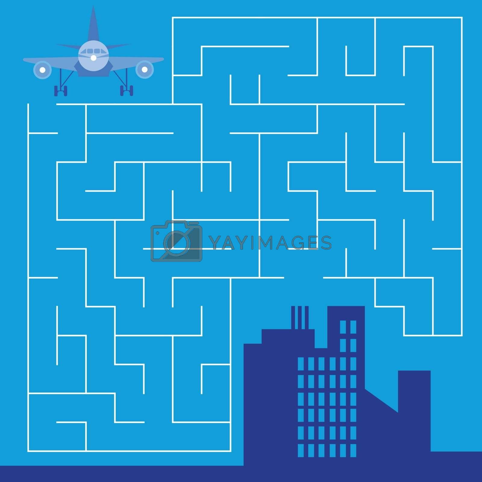 Maze with airplane - game for children - vector by Natali Brill