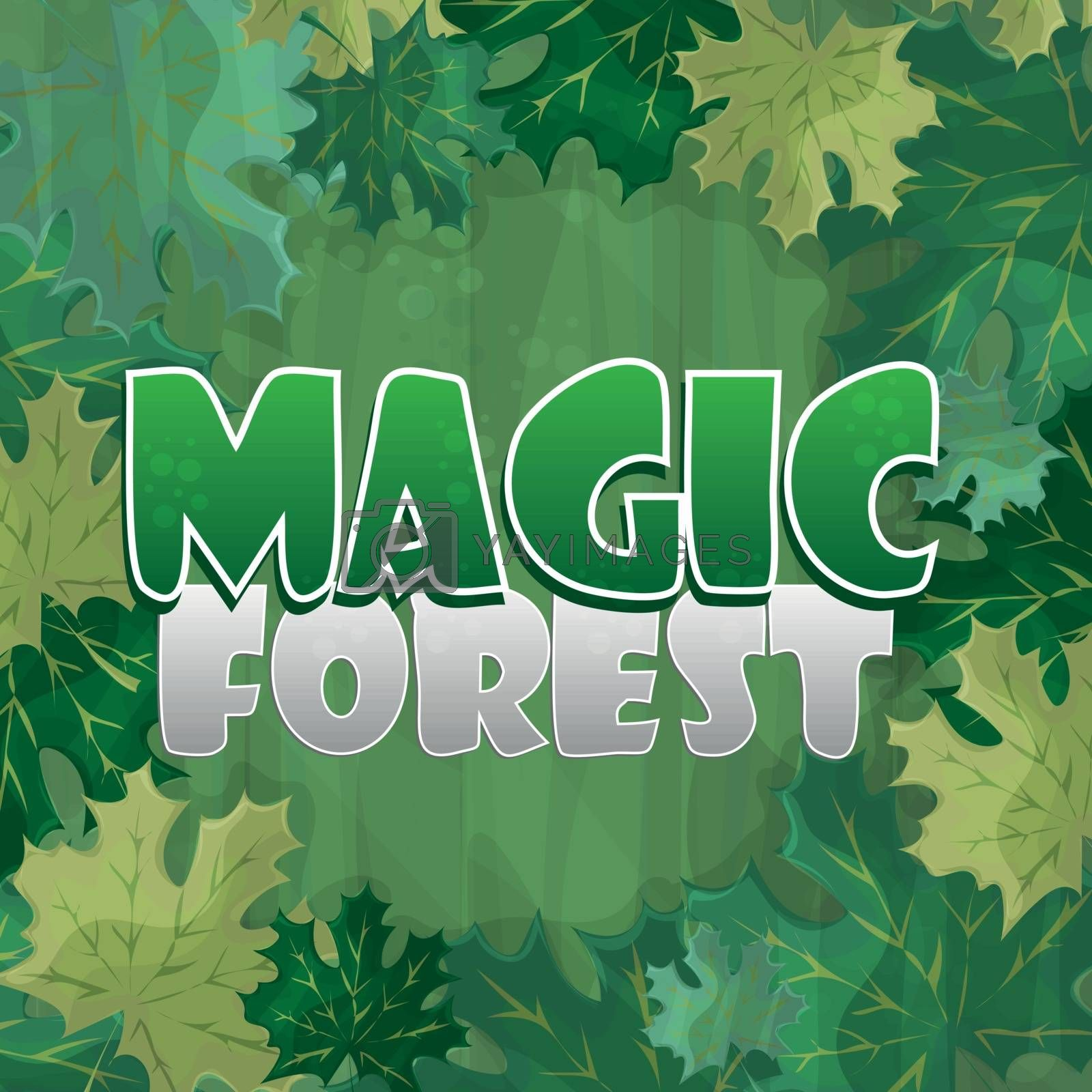 Frame for text decoration. Enchanted forest with green maple leaf - cartoon by Natali Brill