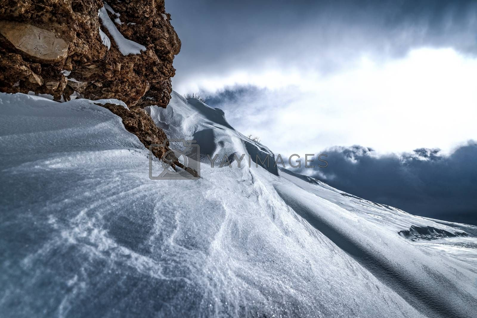 Beautiful winter landscape, cold snowy weather, Mountains of Lebanon