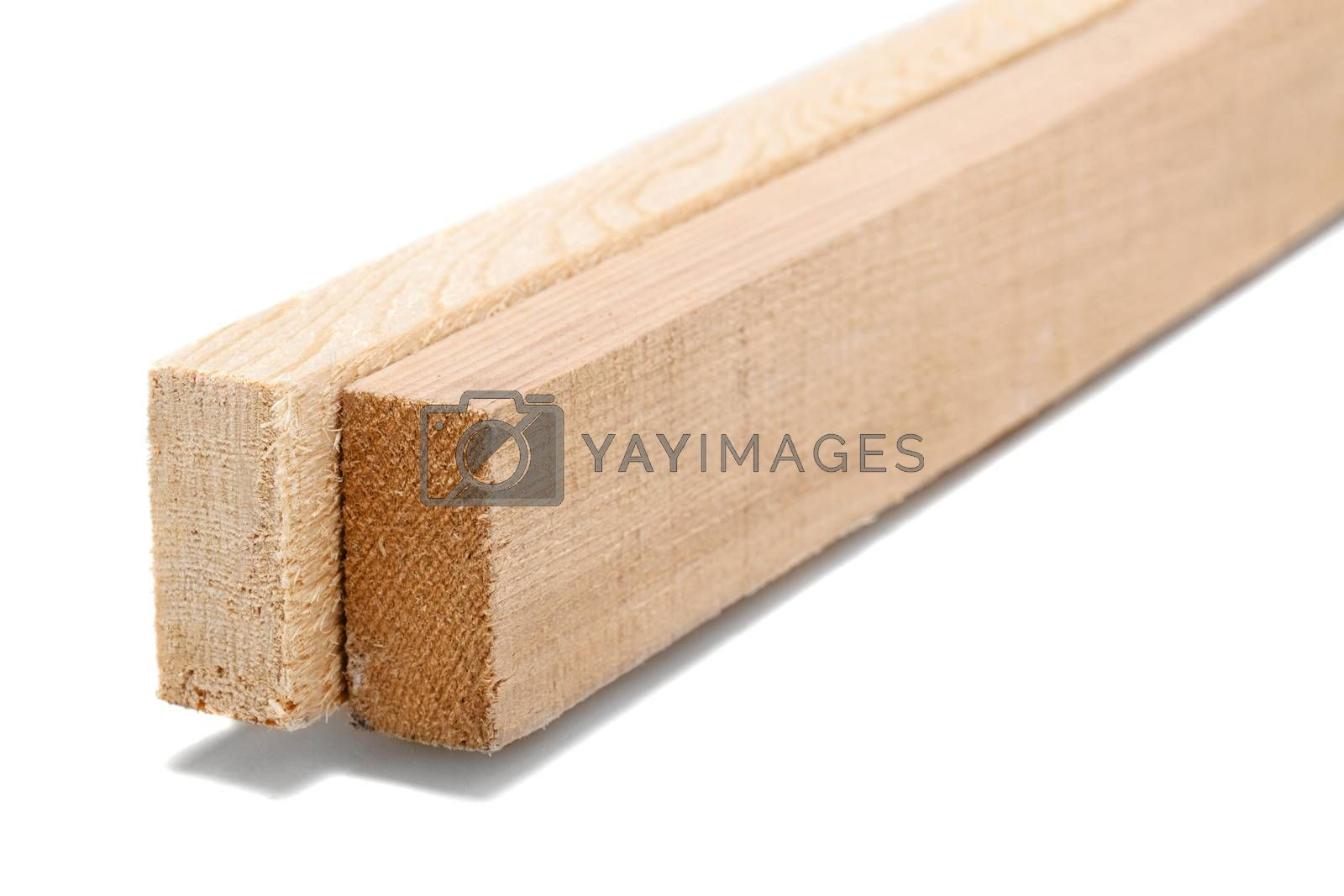 wooden beams isolated on white by KoKi